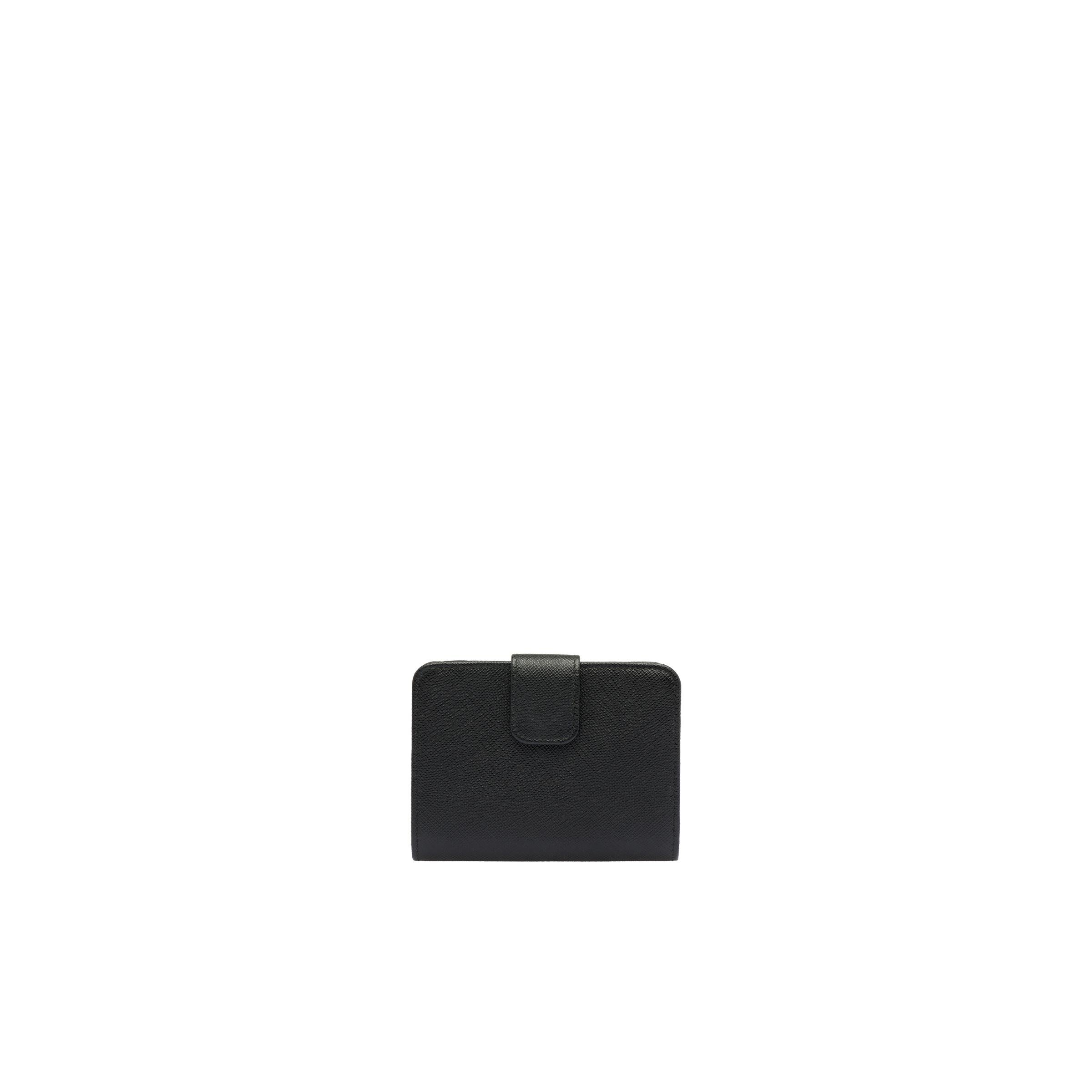 Small Saffiano Leather Wallet Women Black/hibiscus 4