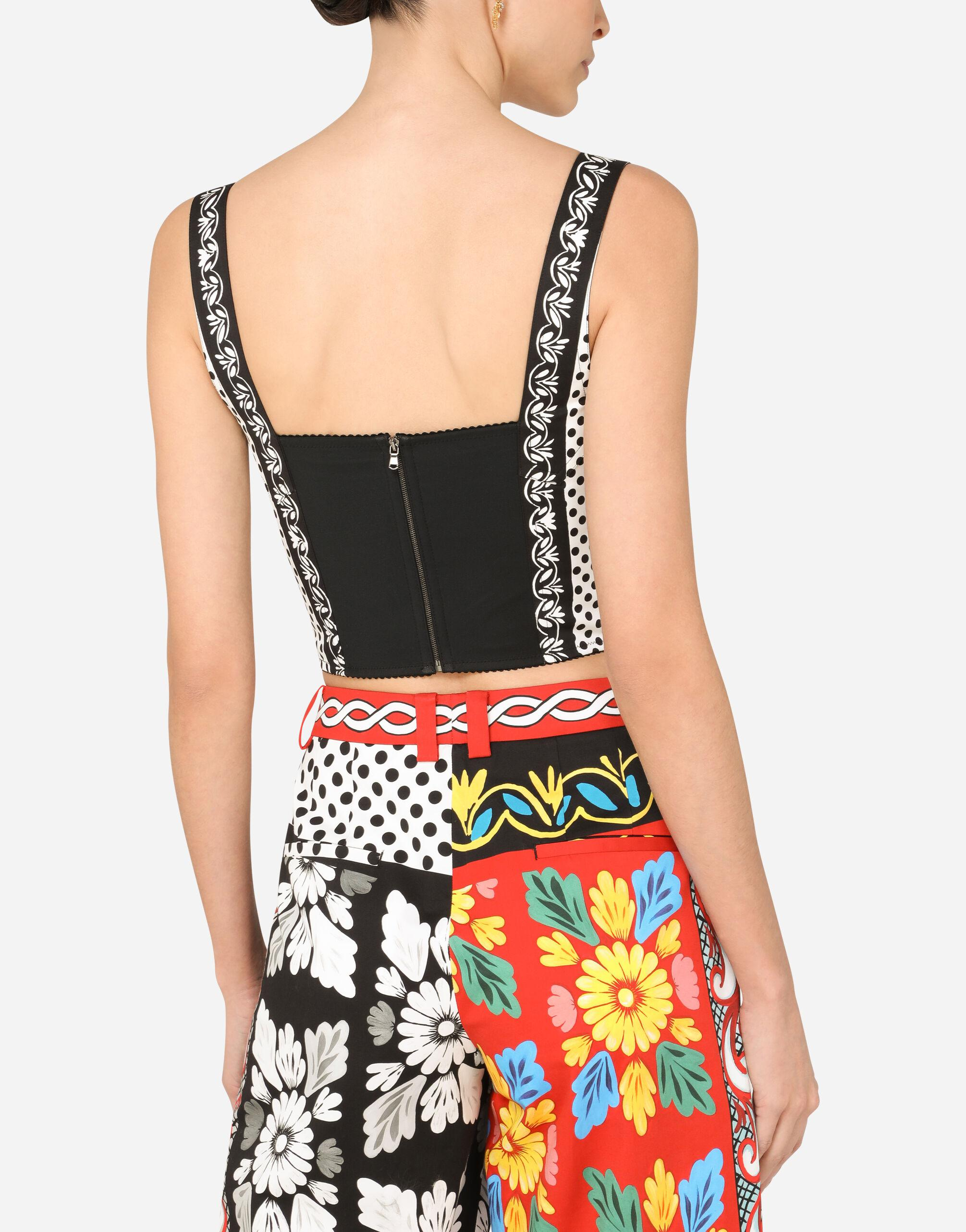 Patchwork-print drill bustier top 3