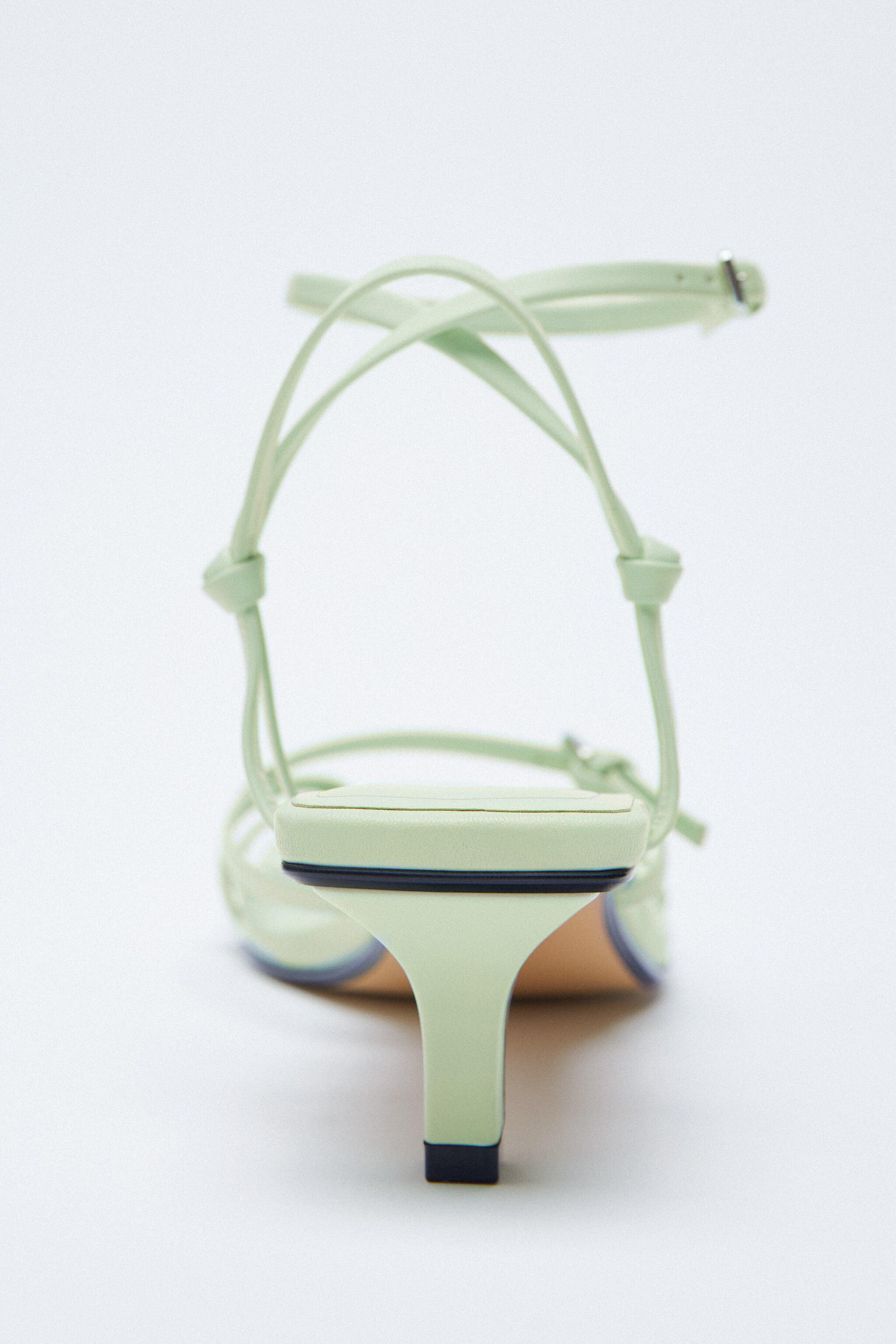 STRAPPY HEELED LEATHER SANDALS 6