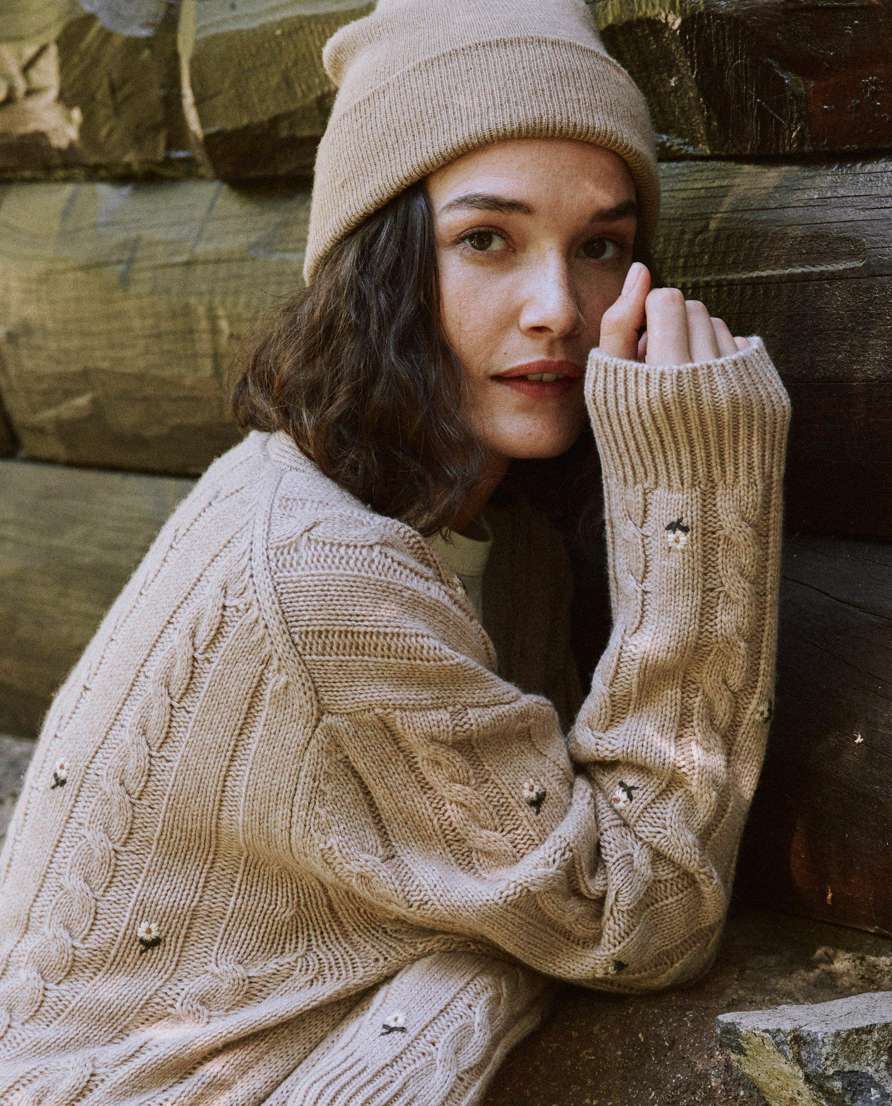 The Embroidered Cable Cardigan. -- Oatmeal