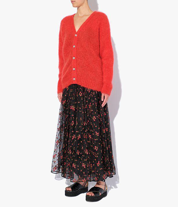 Marcilly Cardigan Mohair Knit Red