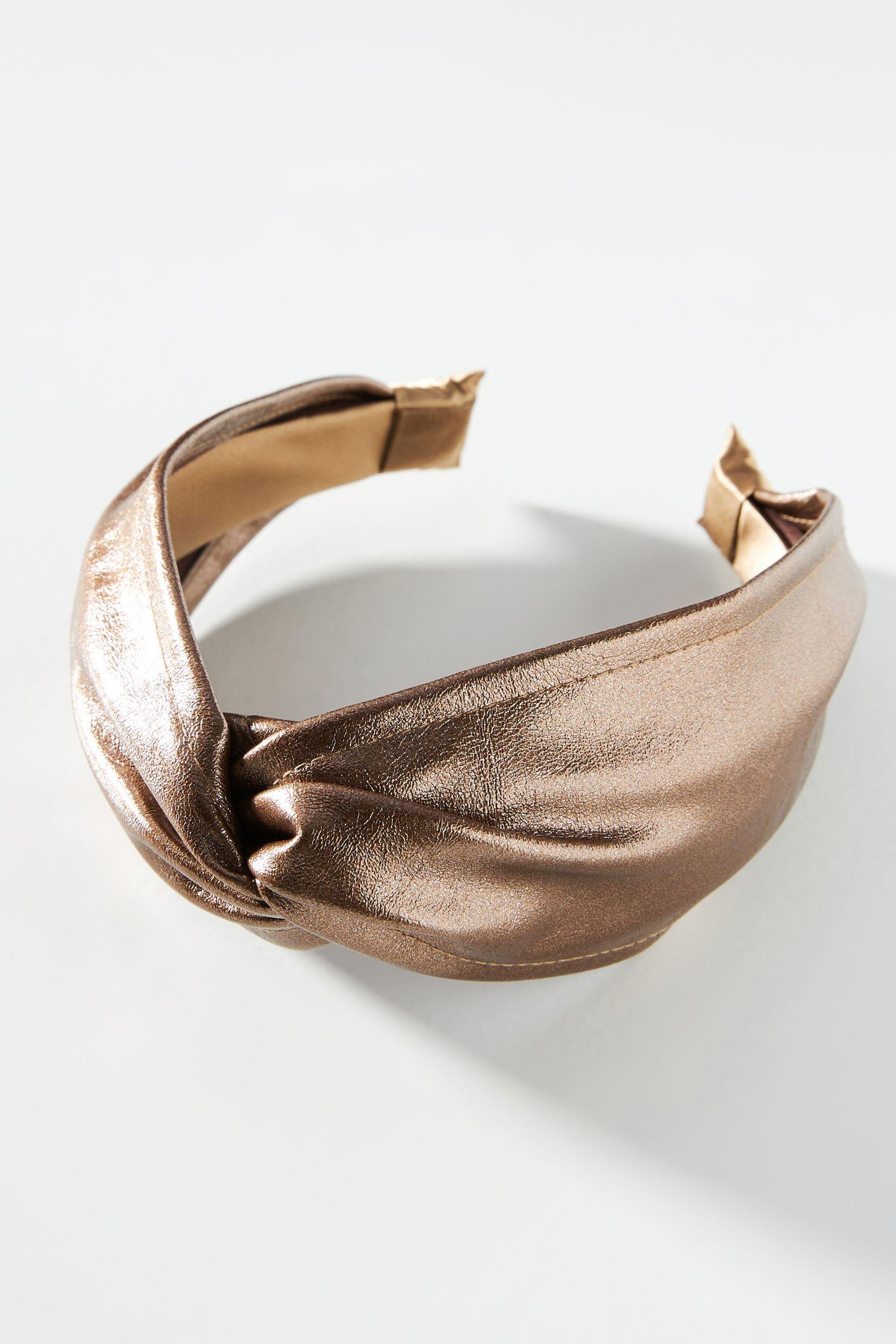 Metallic Faux Leather Knotted Headband