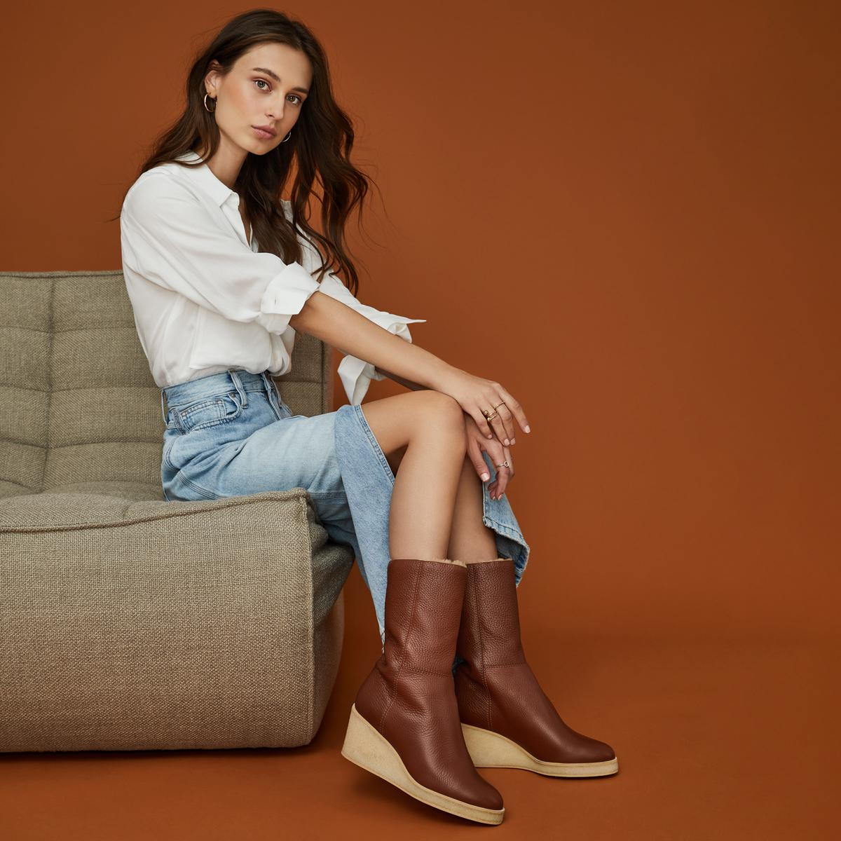 Tucker   Pebbled Leather Wedge Boot 5