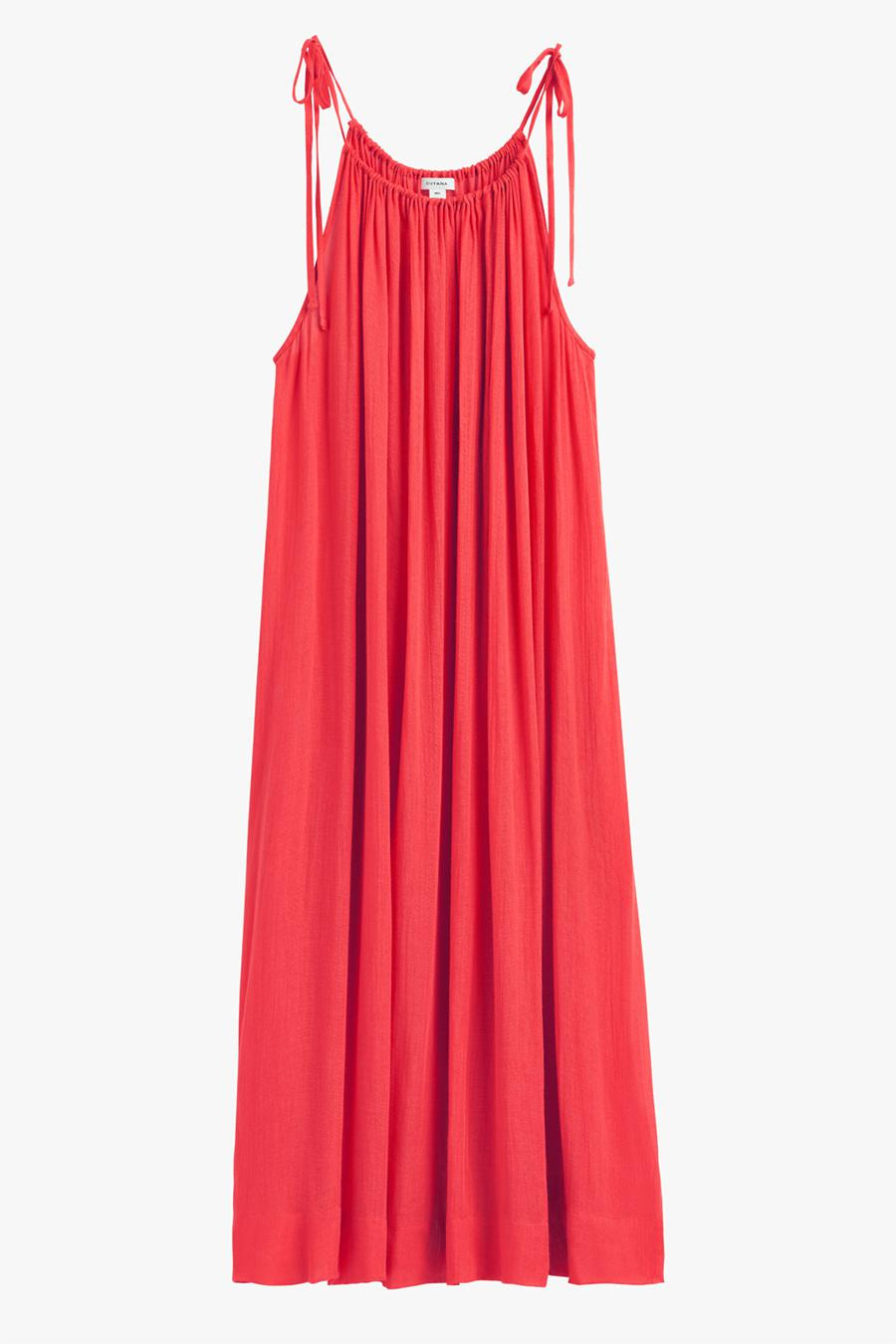 Women's Gathered-Neck Maxi Coverup in Lipstick | Size:
