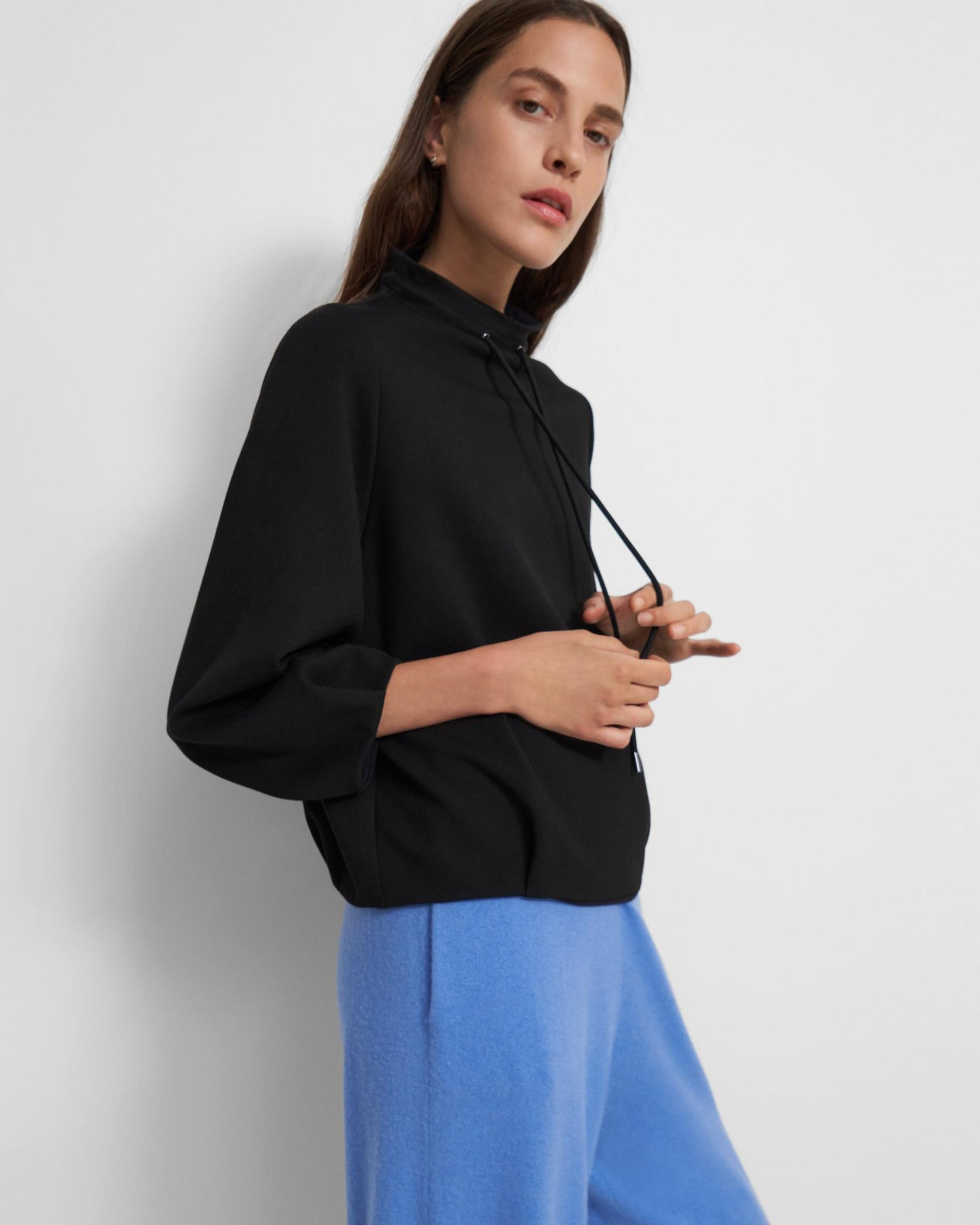 Drawstring Pullover in Double-Knit Jersey