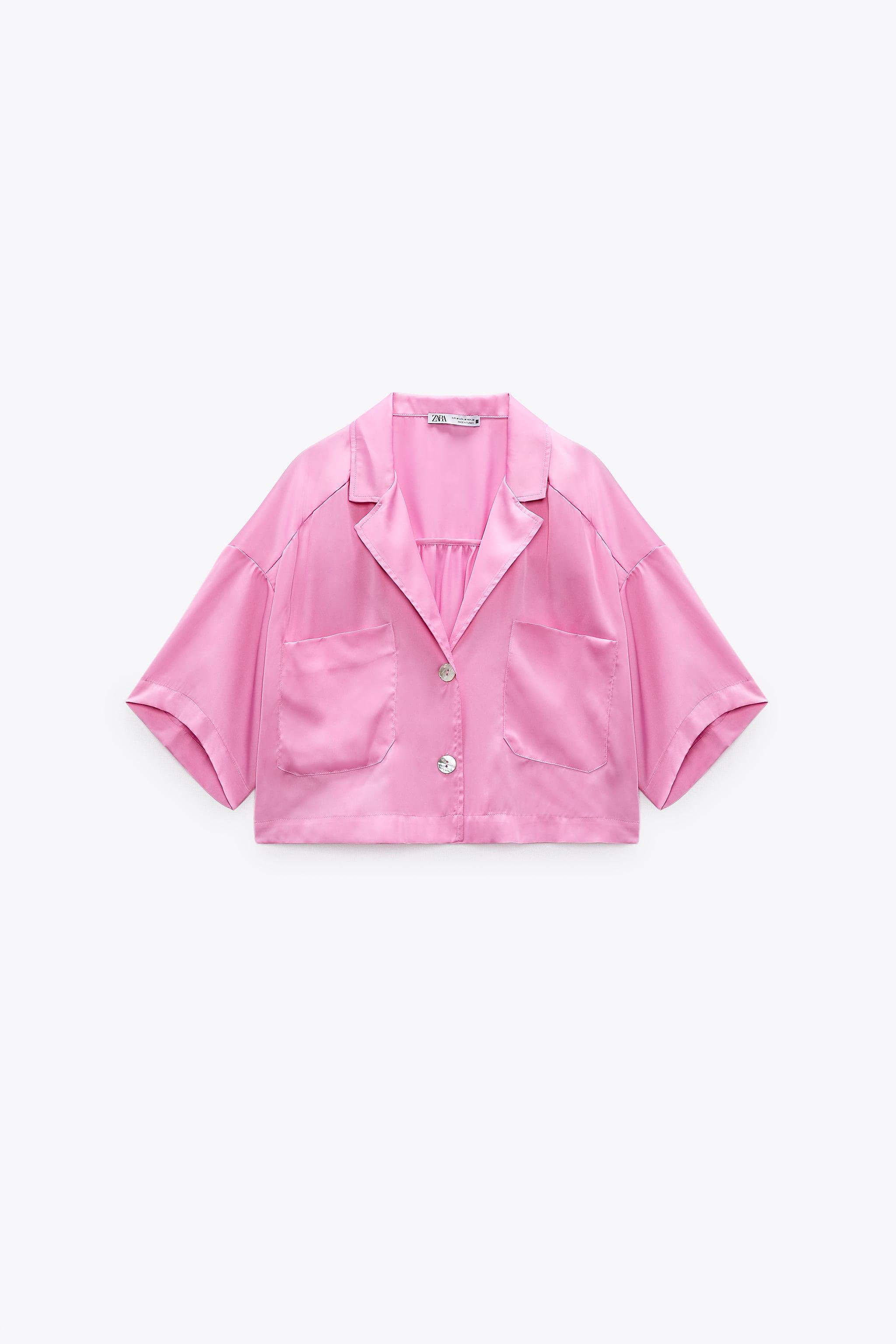 SATIN EFFECT CROPPED BLOUSE