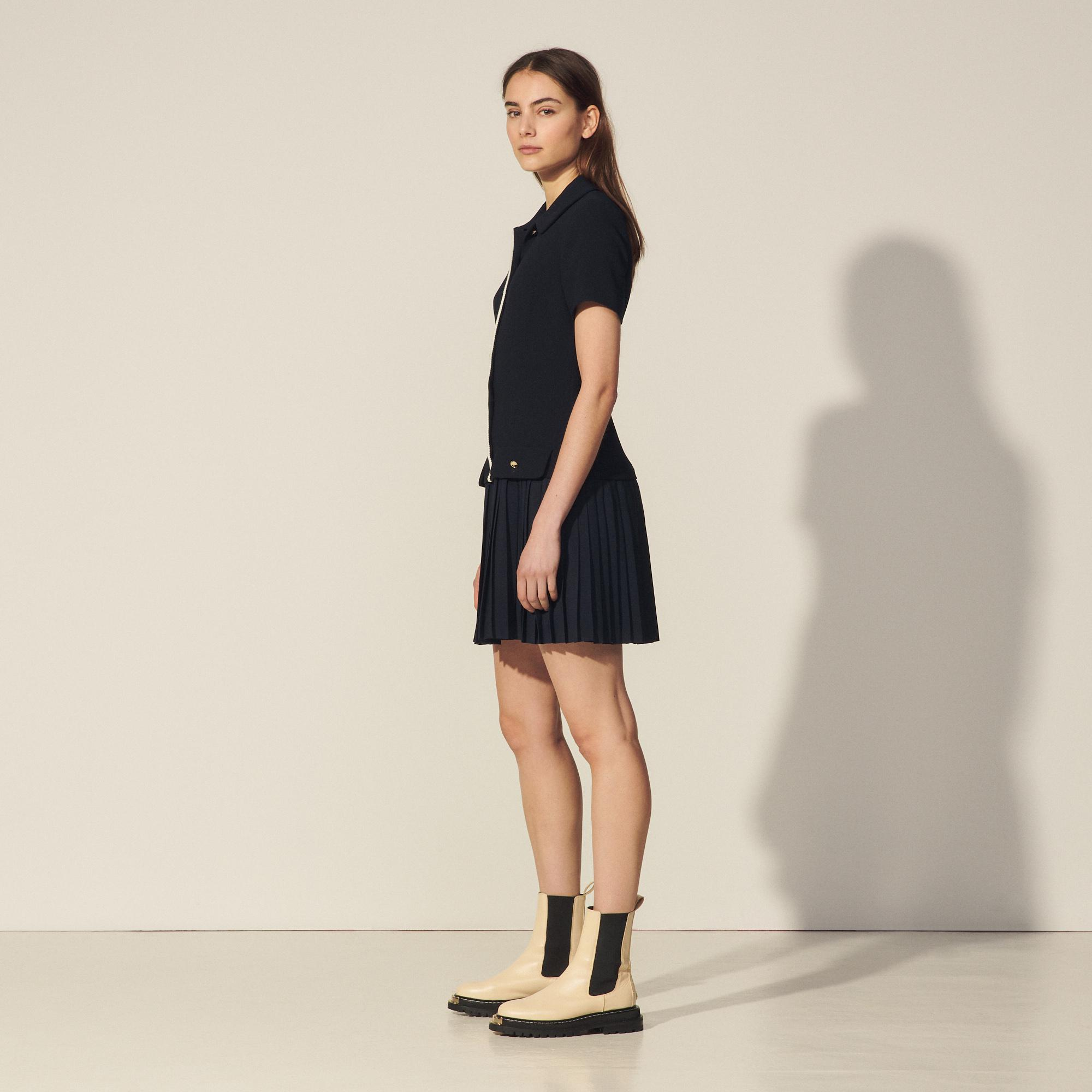 Mixed material pleated dress 2