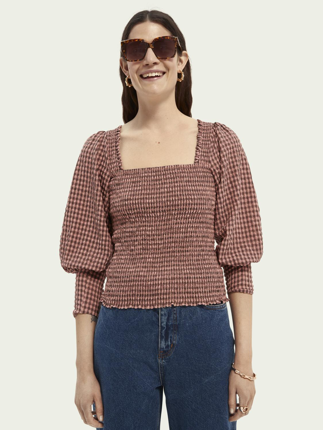 Seersucker top with smock details and square neck