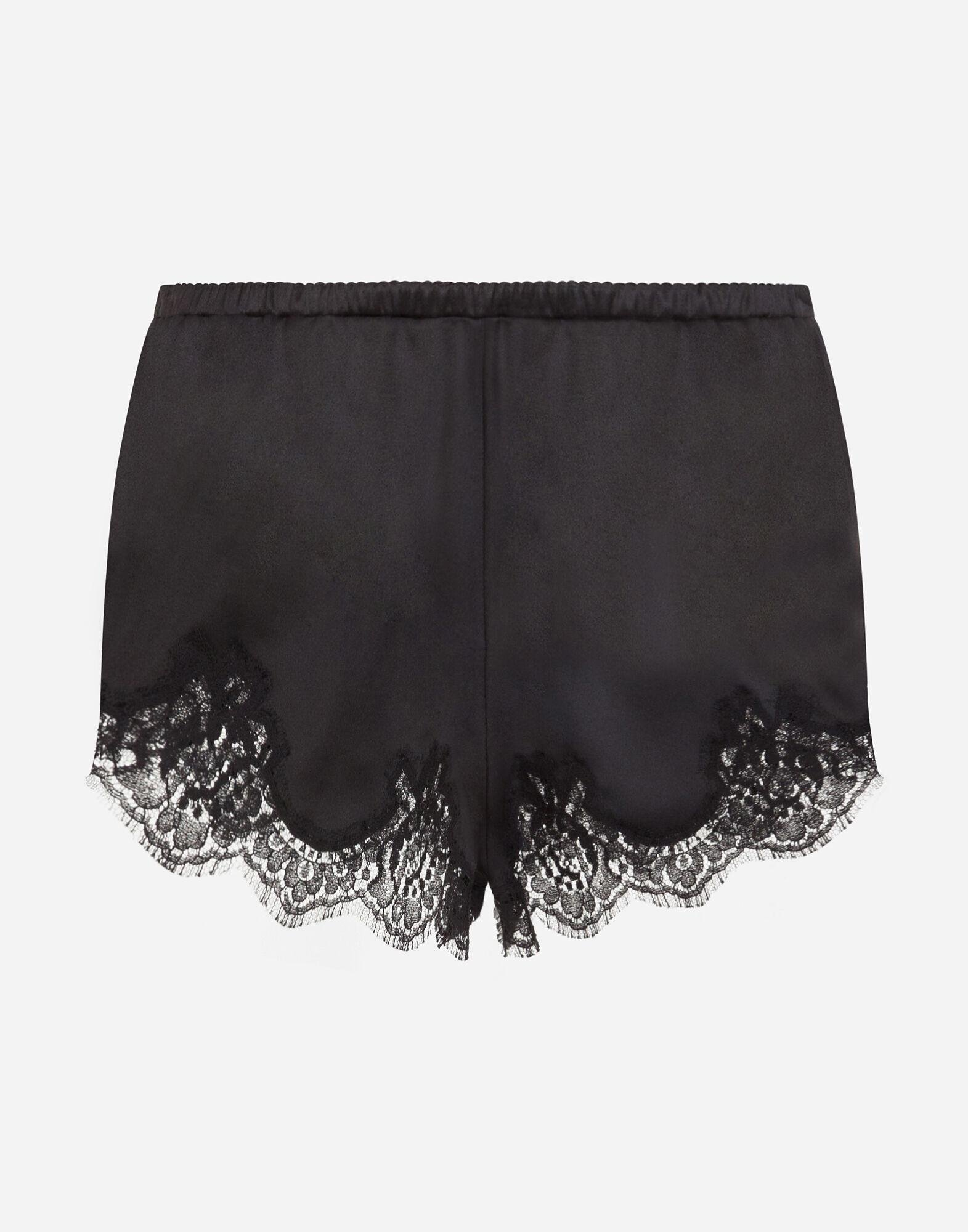 Satin lingerie shorts with lace detailing 1