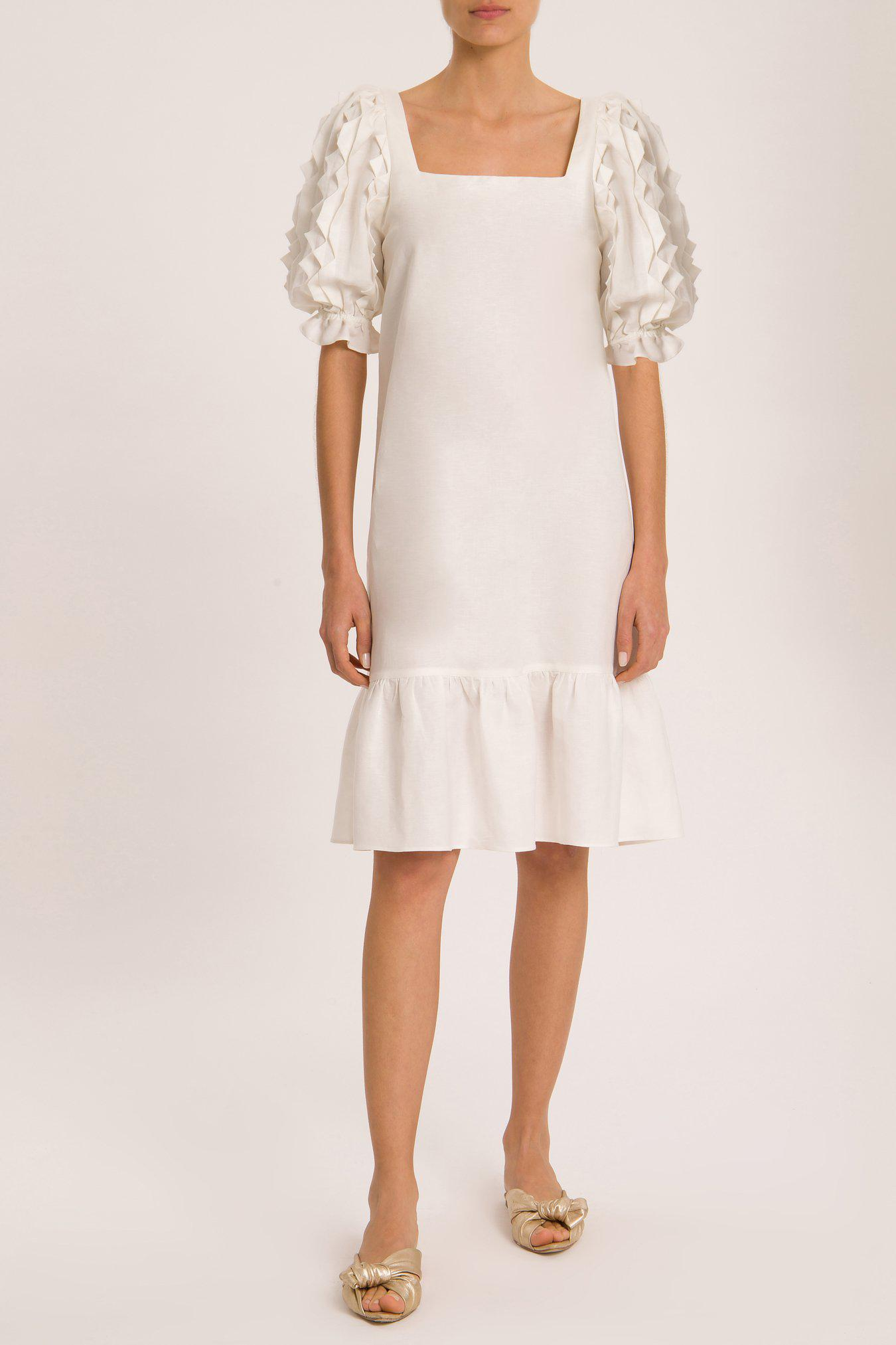 Linen Puff-Sleeved Midi Dress With Application