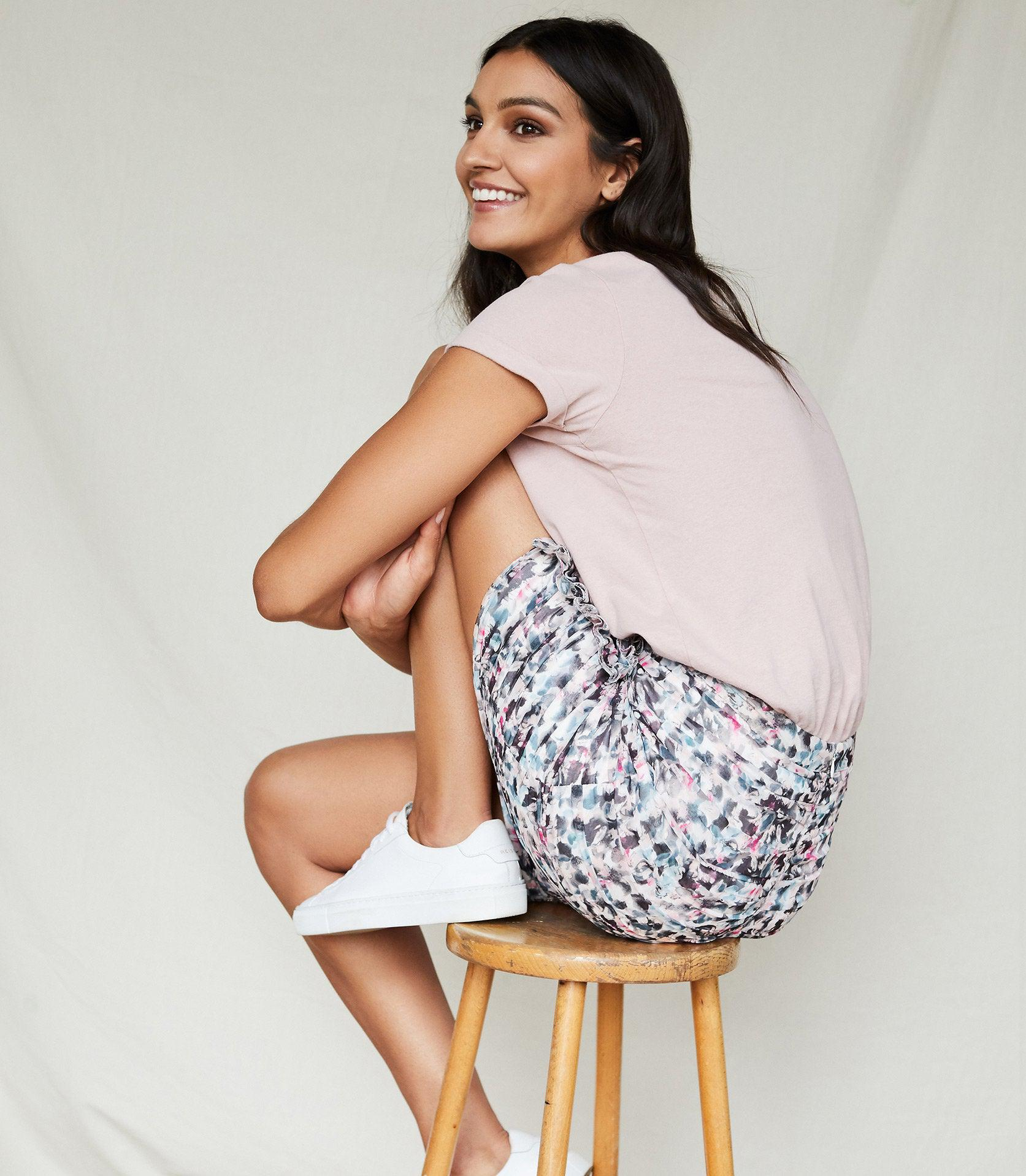 LUCIELLE - FLORAL PRINT RUCHED MINI SKIRT 4