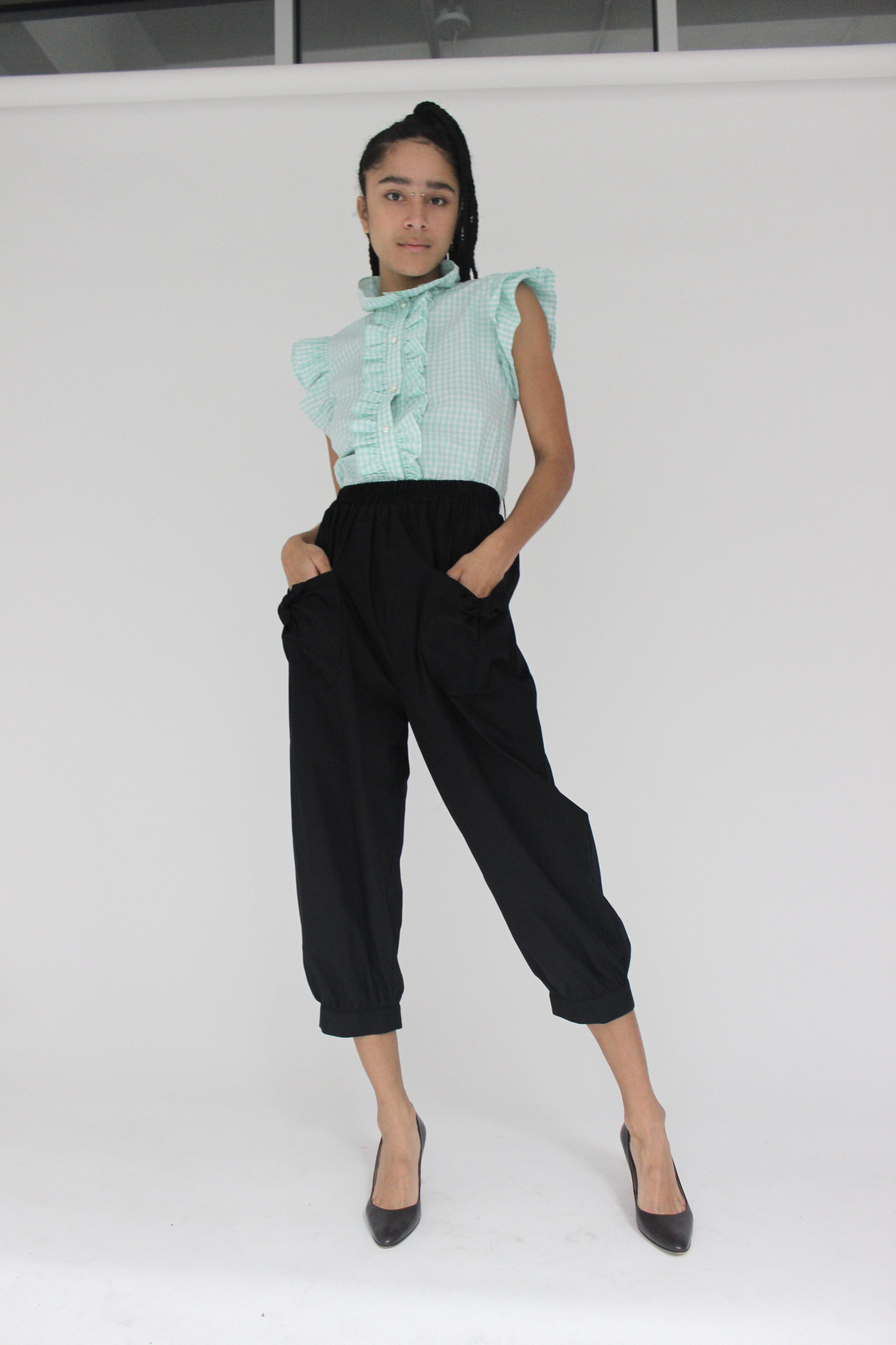 Claude Blouse in Mint Gingham