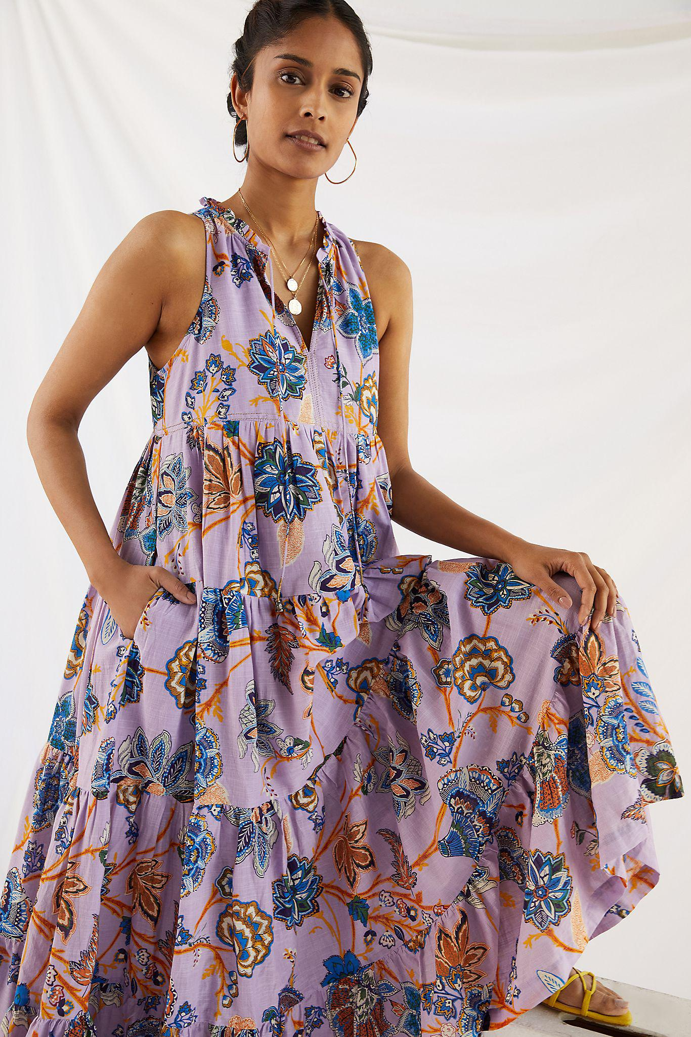 Tiered Abstract Maxi Dress