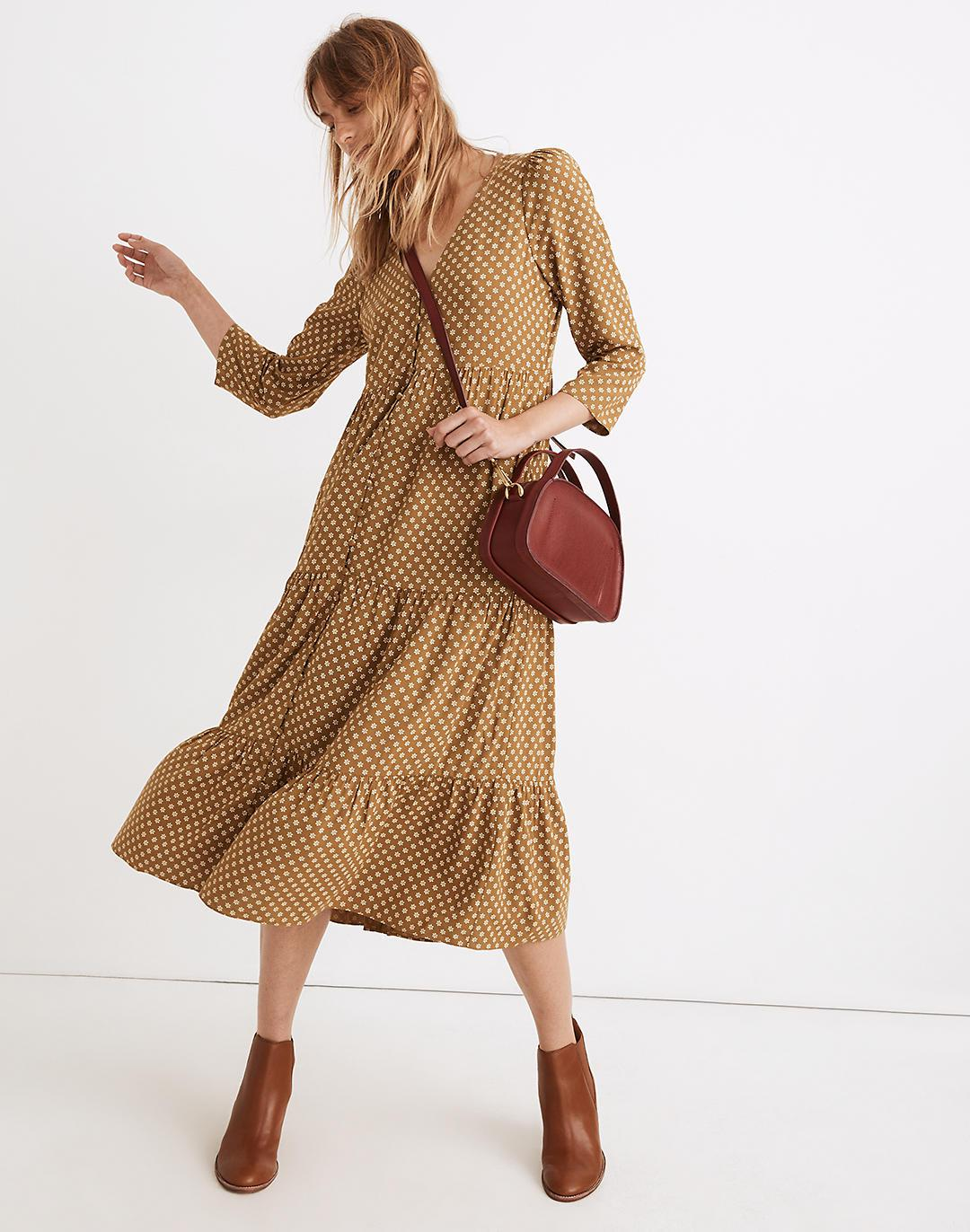 V-Neck Tiered Button-Front Midi Dress in Daisies Forever