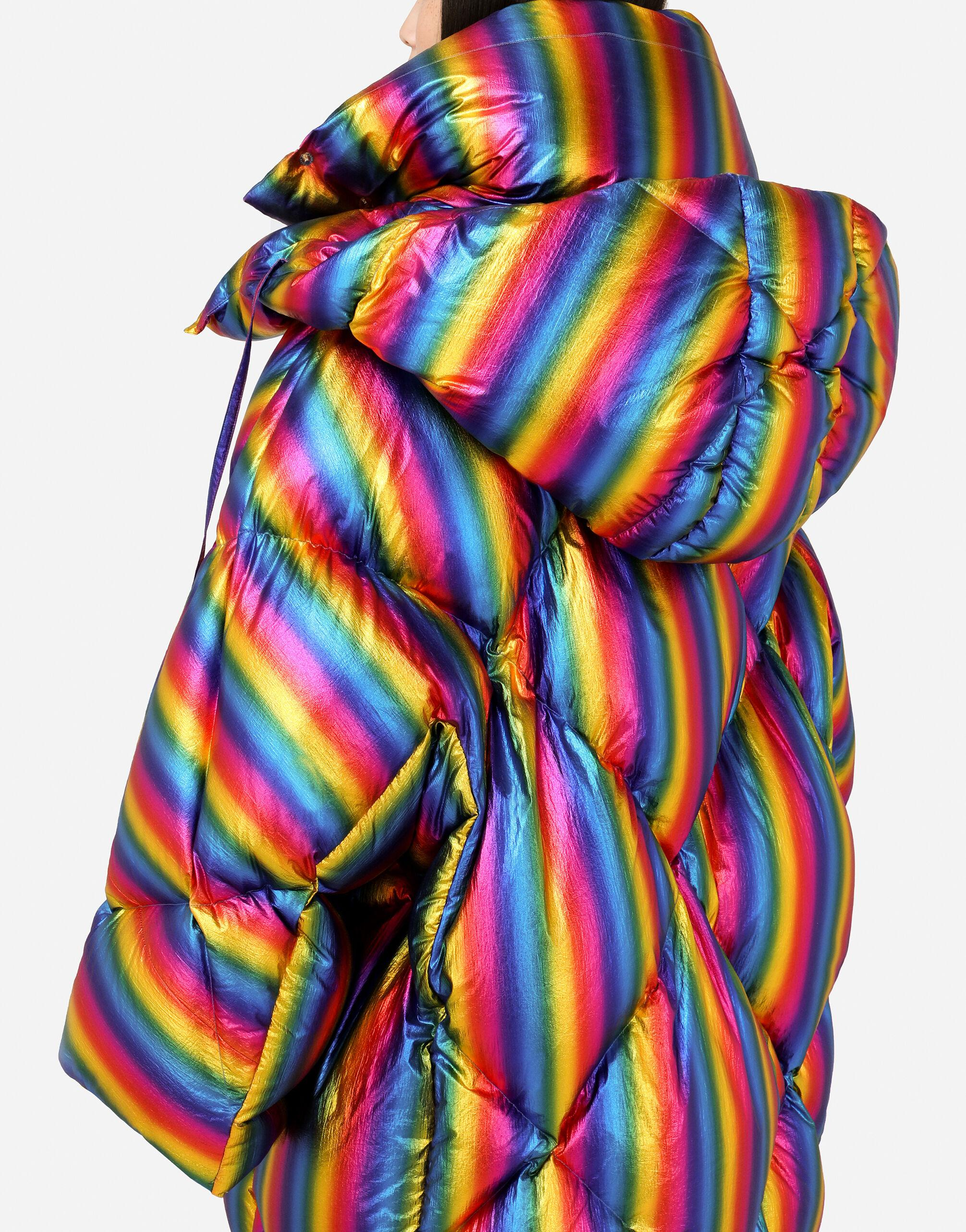 Foiled nylon down jacket with multi-colored stripes 7