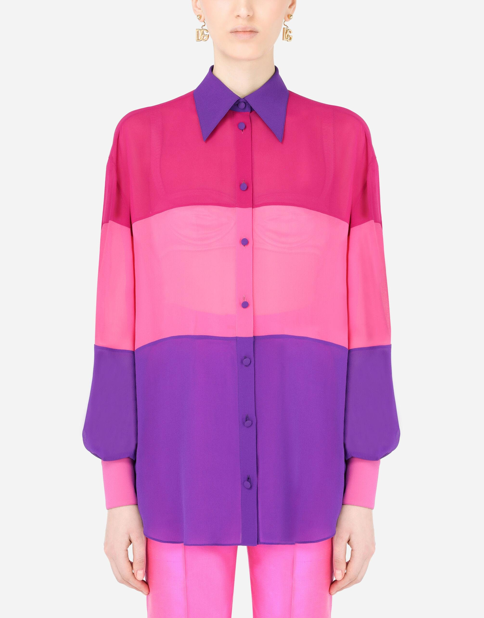 Multi-colored georgette patchwork shirt