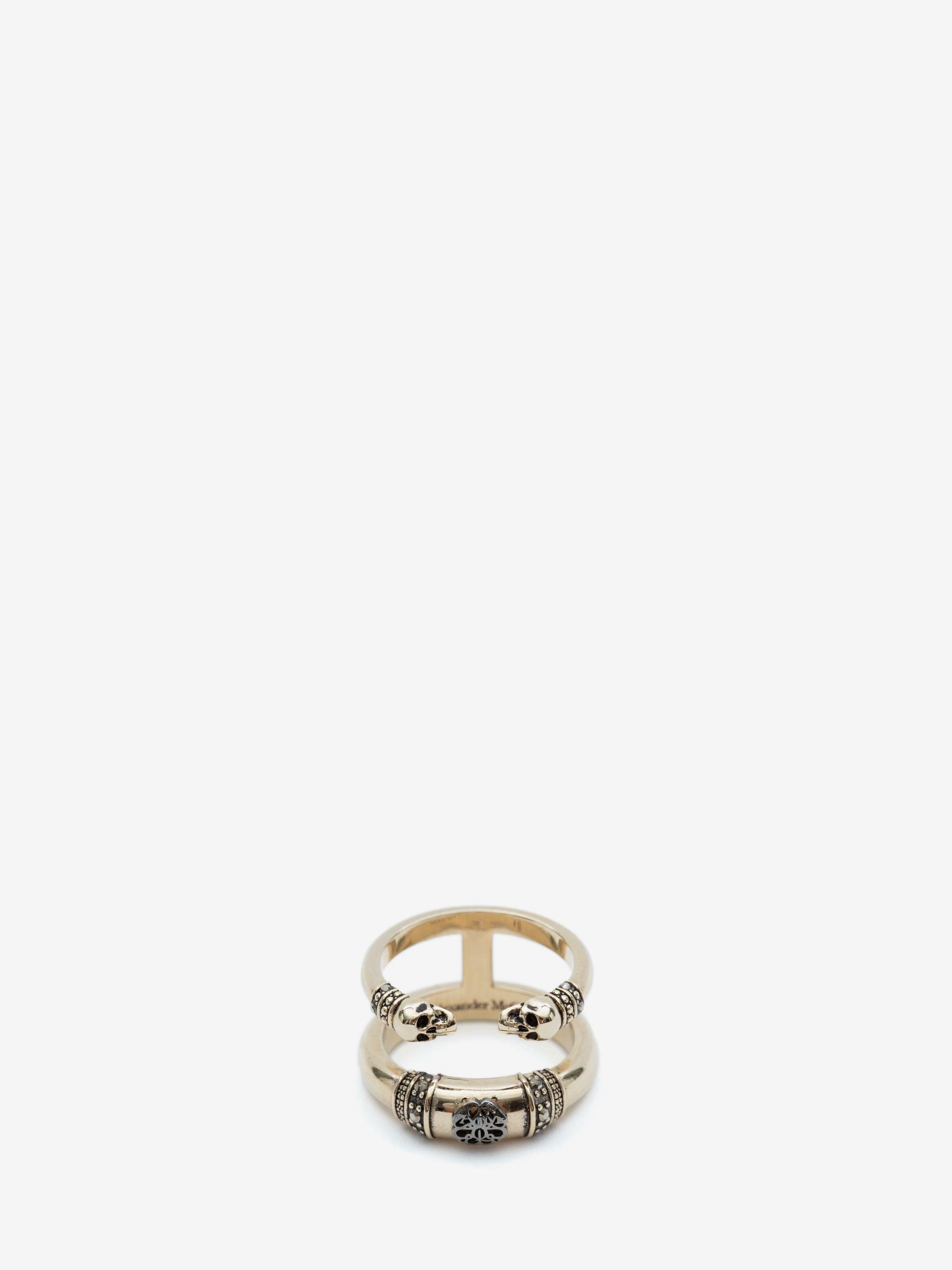 Skull and Charm Seal Double Ring 2