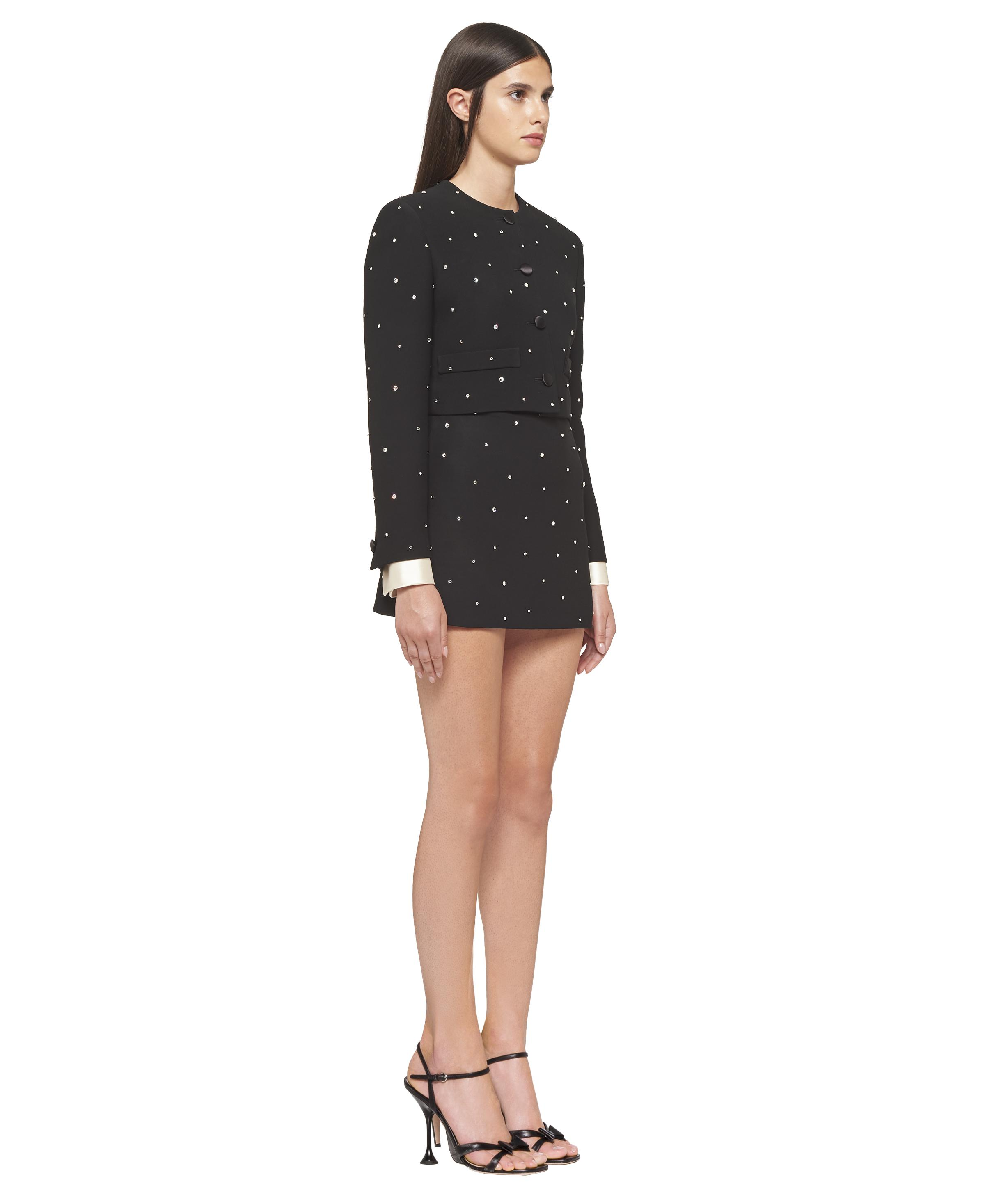 Single-breasted Embroidered Cady Jacket Women Black 2