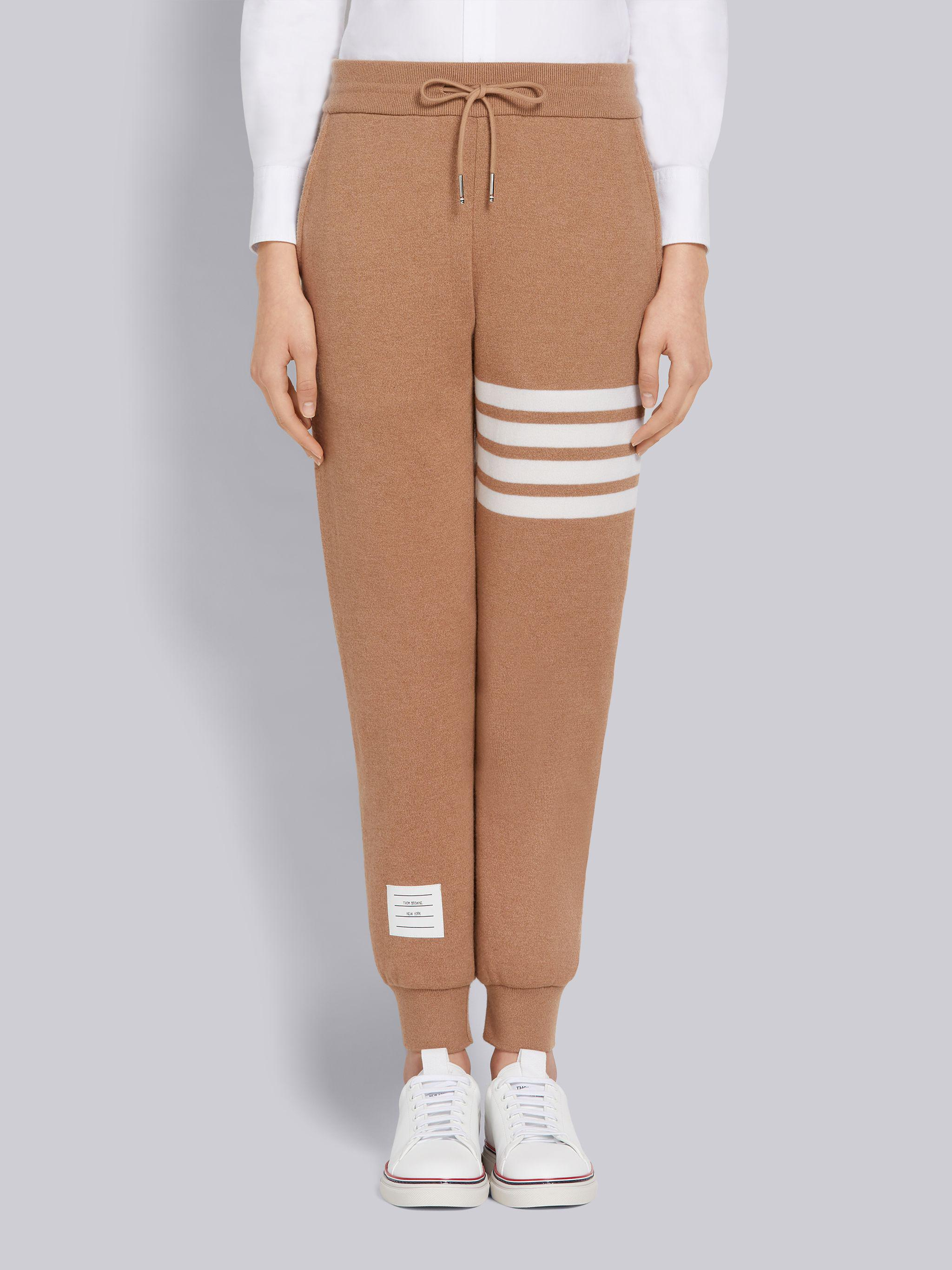 Camel Knitted Double Face Cashmere 4-Bar Sweatpants