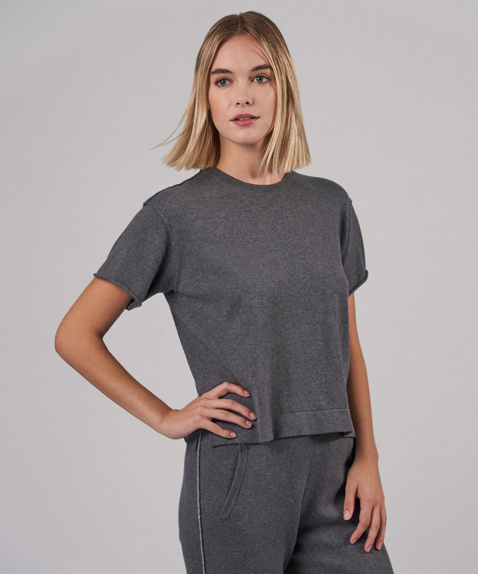 Cotton Cashmere Sweater Tee - Heather Charcoal