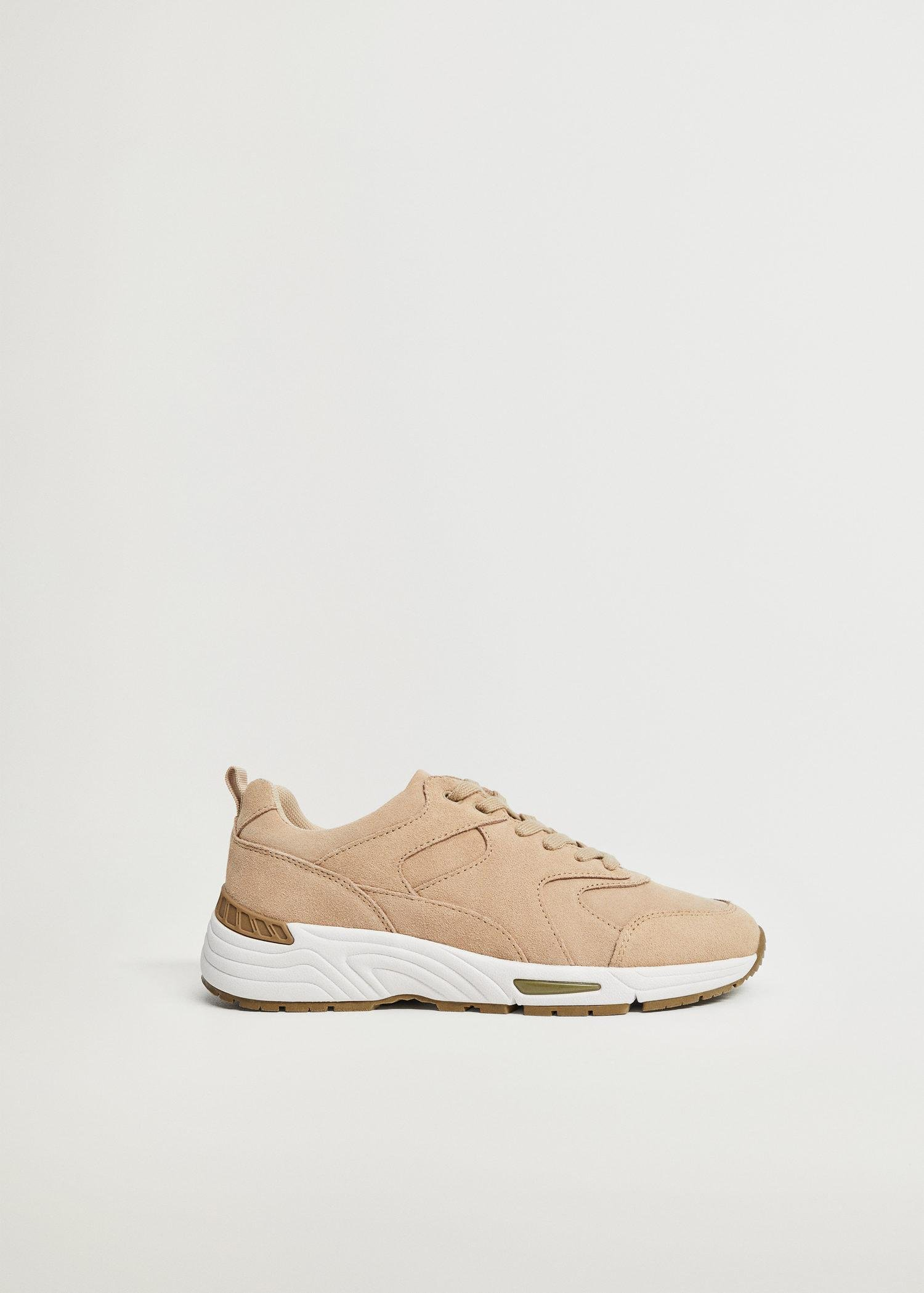 Contrast sole leather sport shoes