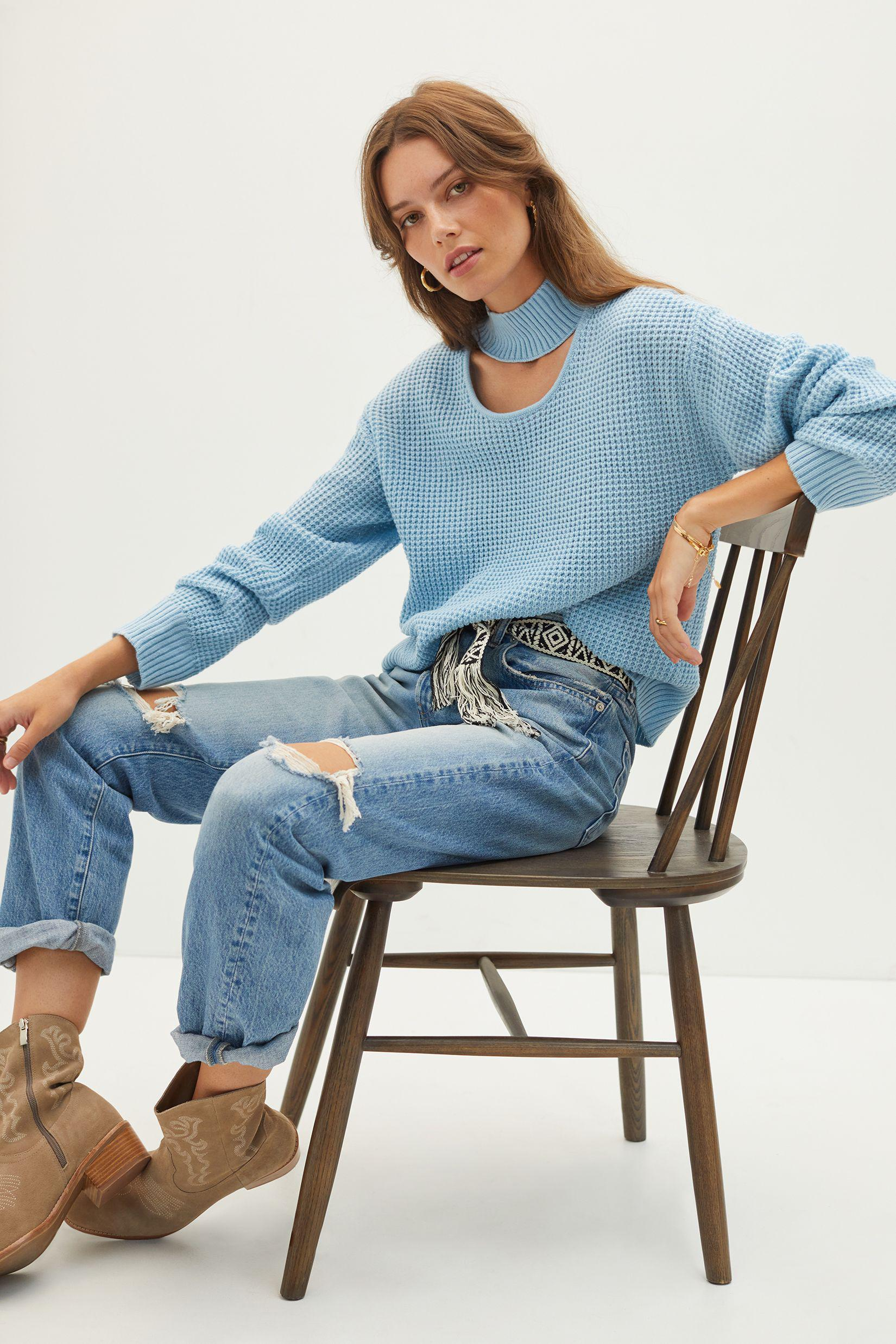 Cut-Out Mock Neck Sweater