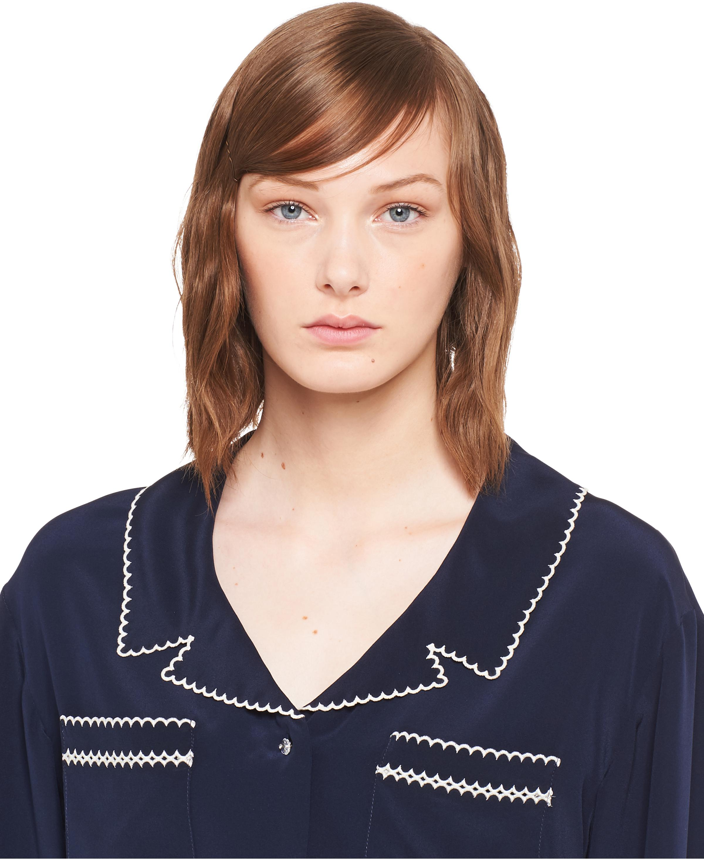 Embroidered Crepe De Chine Blouse Women Navy 4