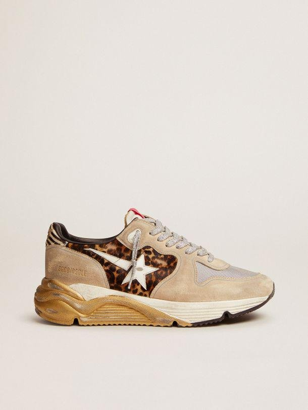 Running Sole LTD sneakers in leopard-print pony skin and suede with mesh insert