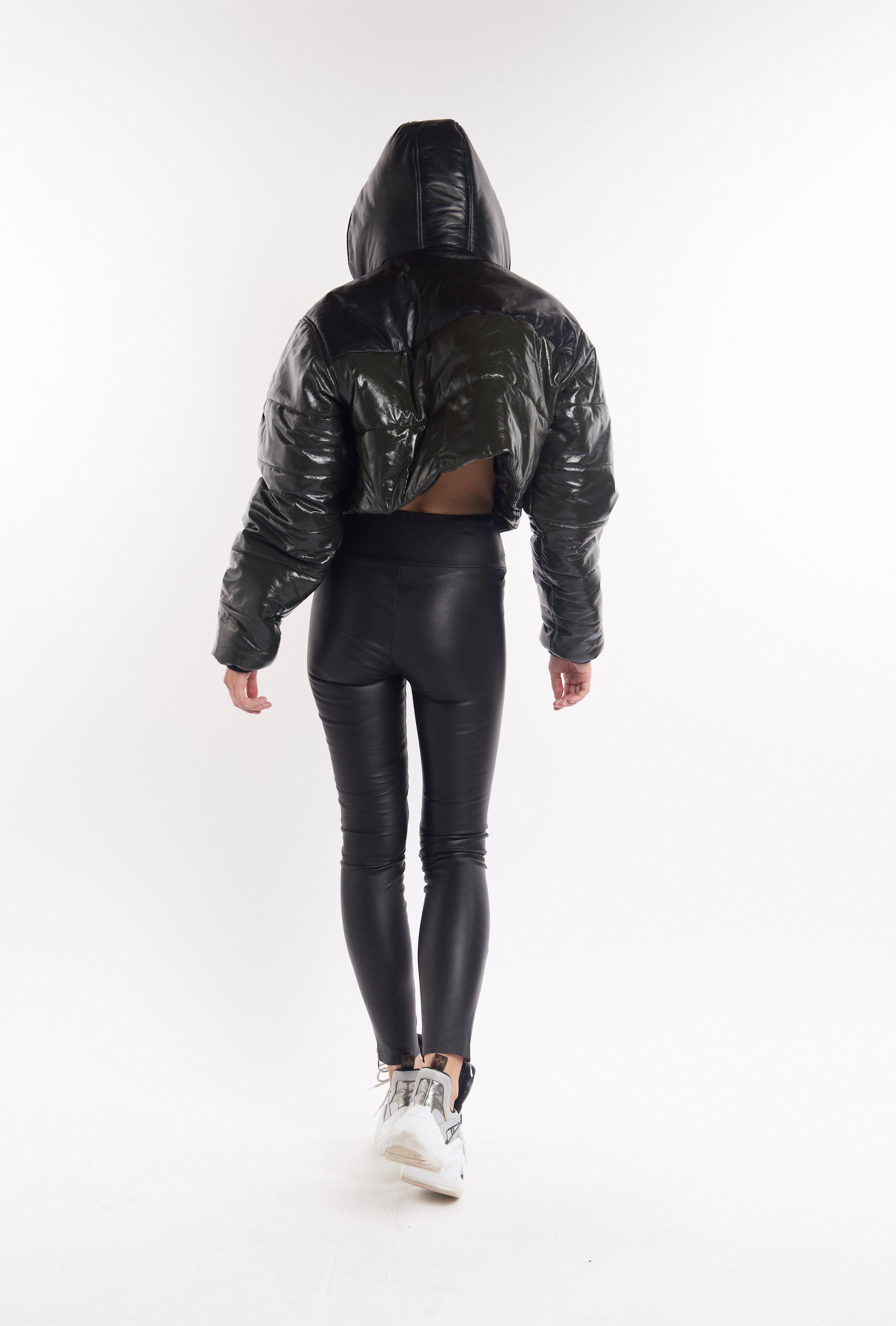 Patent Army & Black Leather Combo Puffer Jacket 1