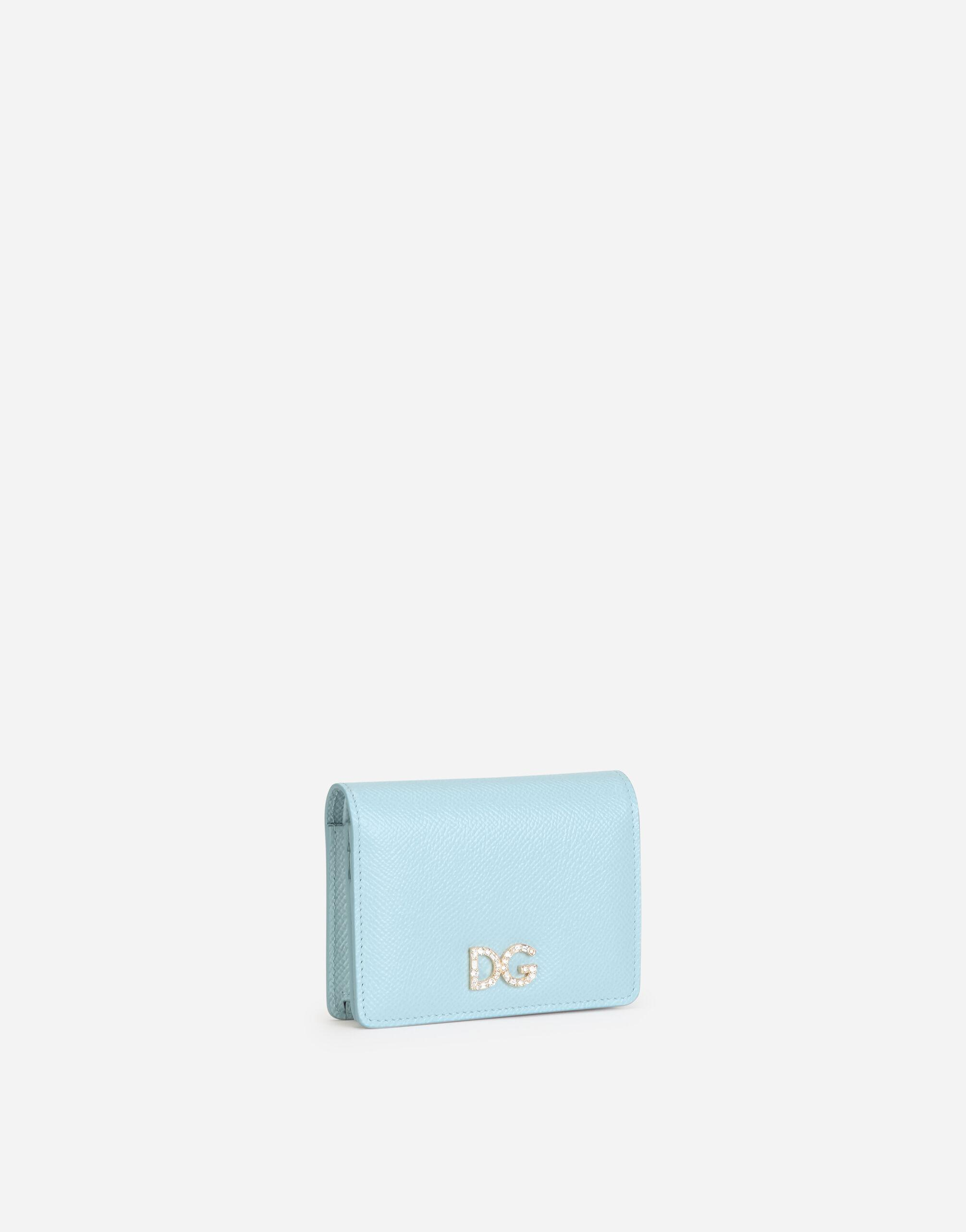 Small dauphine calfskin continental wallet with rhinestone-detailed DG logo 1