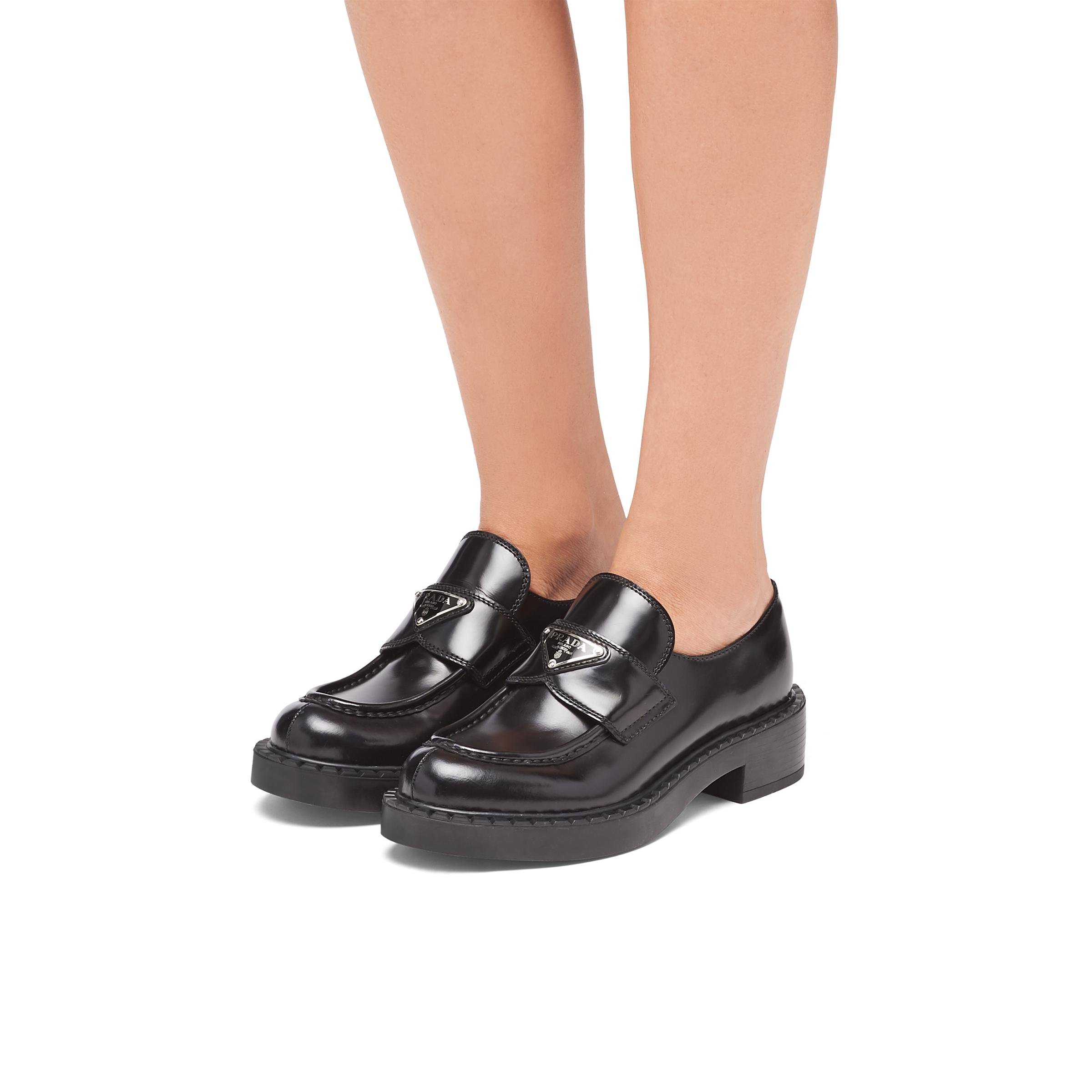 Brushed Leather Loafers Women Black 4