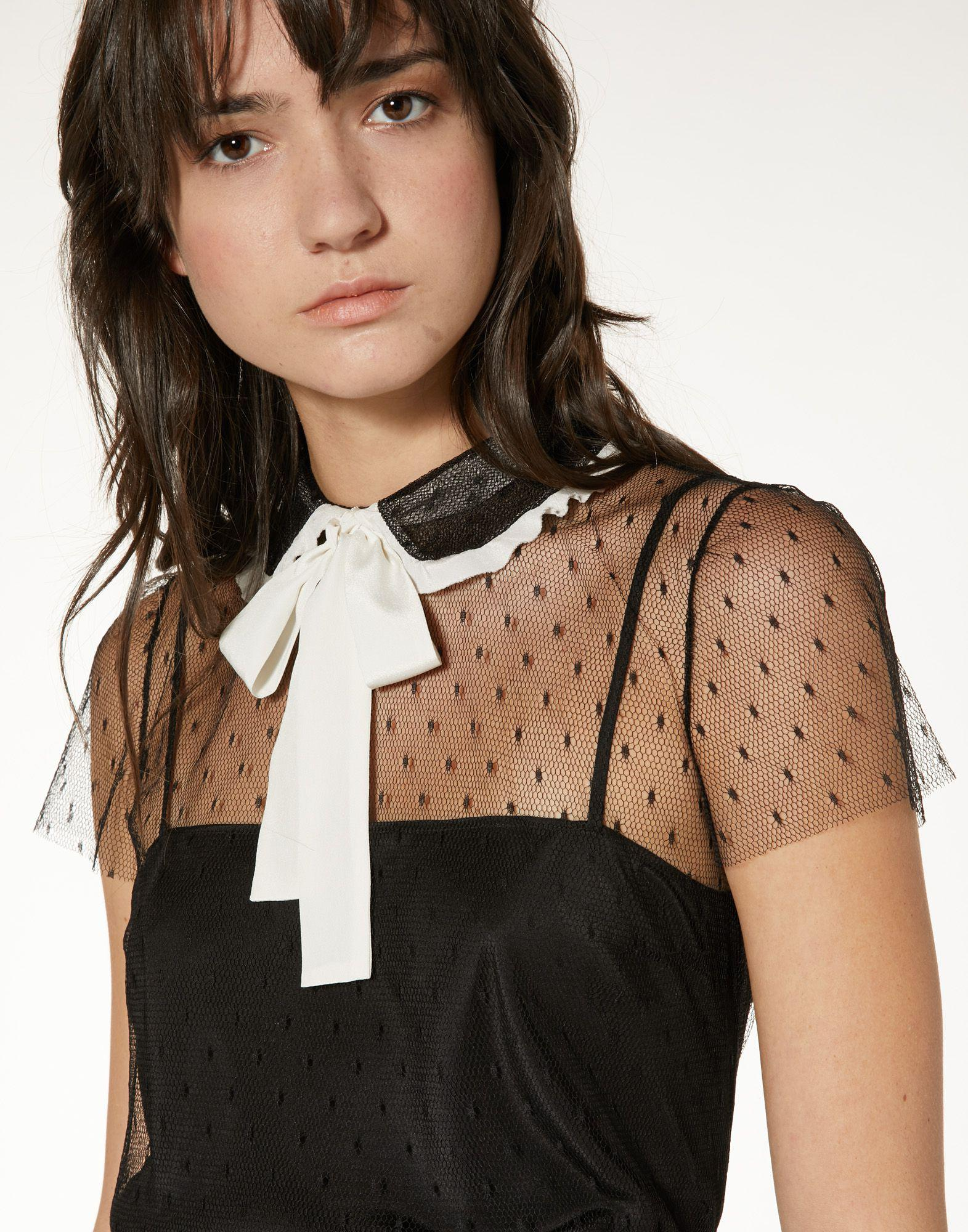 POINT D'ESPRIT TULLE TOP WITH ROUNDED COLLAR AND BOW 3