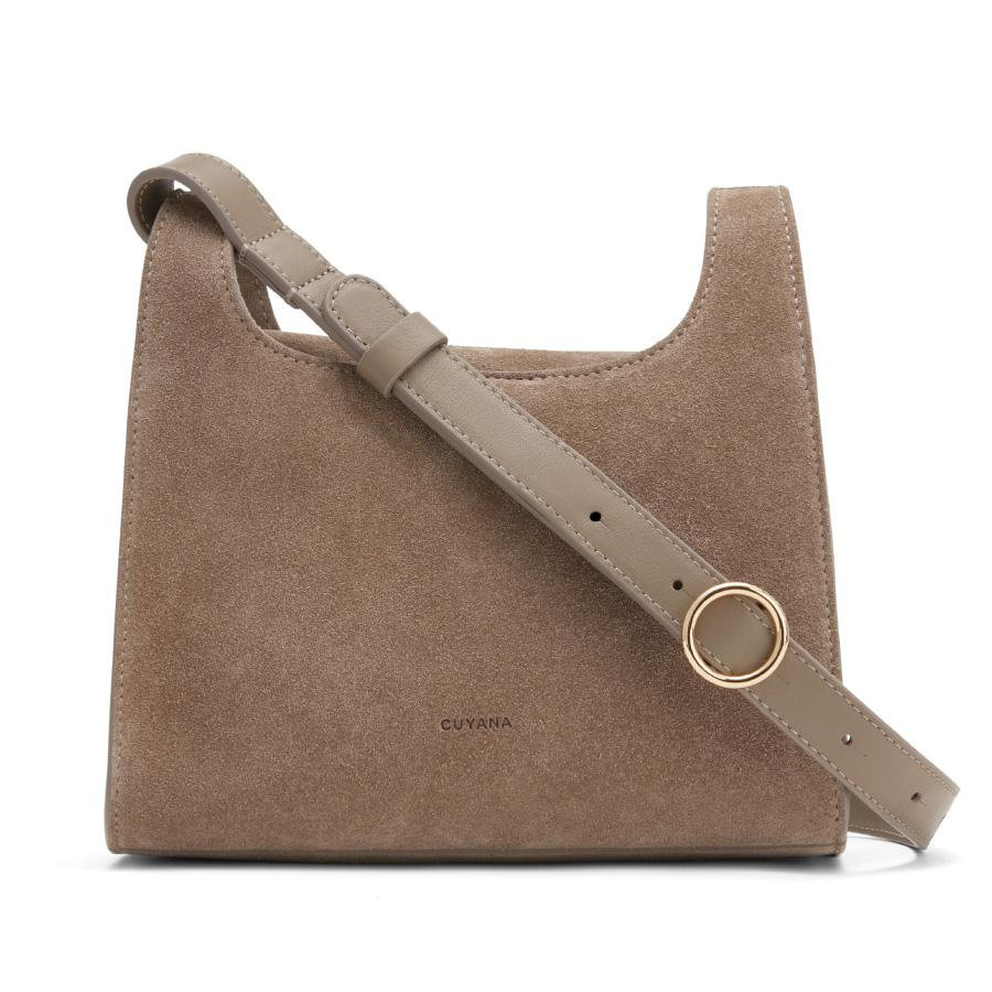 Women's Mini Double Loop Bag in Taupe | Suede & Smooth Leather by Cuyana