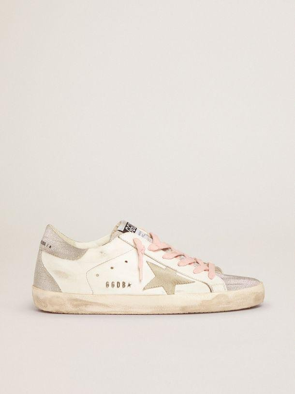 Super-Star sneakers with silver glitter tongue and heel tab with checkered pattern