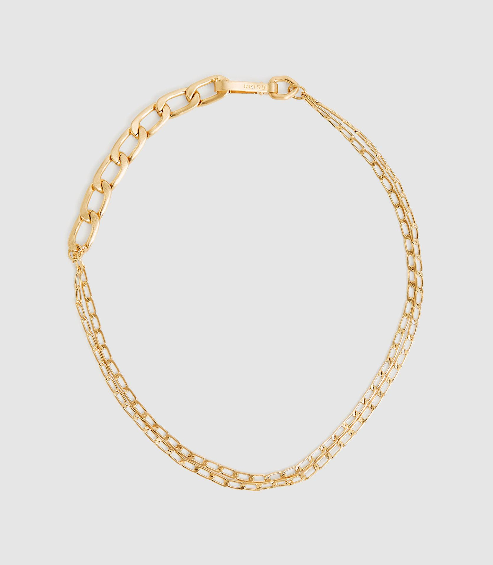 ELLENA - BRUSHED GOLD PLATED CHAIN NECKLACE