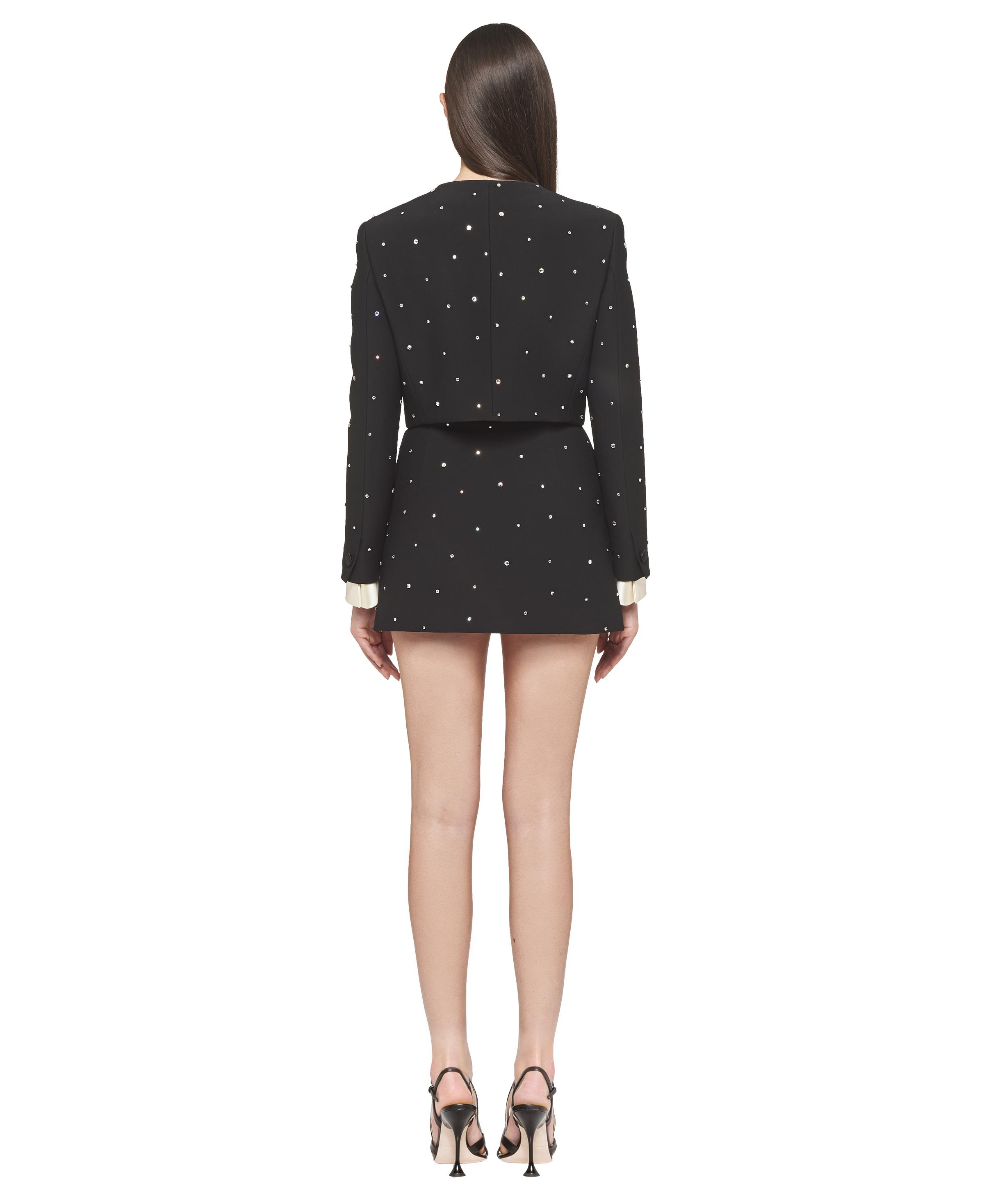 Single-breasted Embroidered Cady Jacket Women Black 3