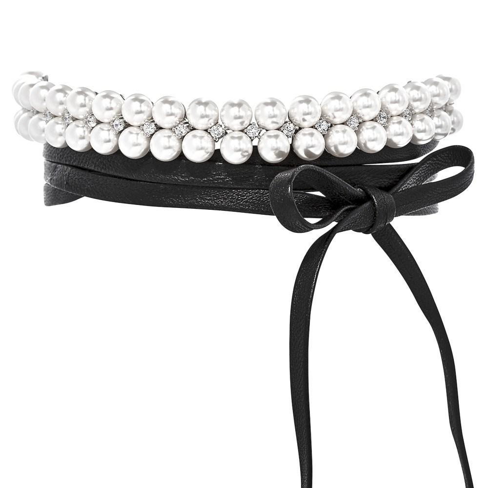 MONARCH PEARL LEATHER WRAP CHOKER NECKLACE