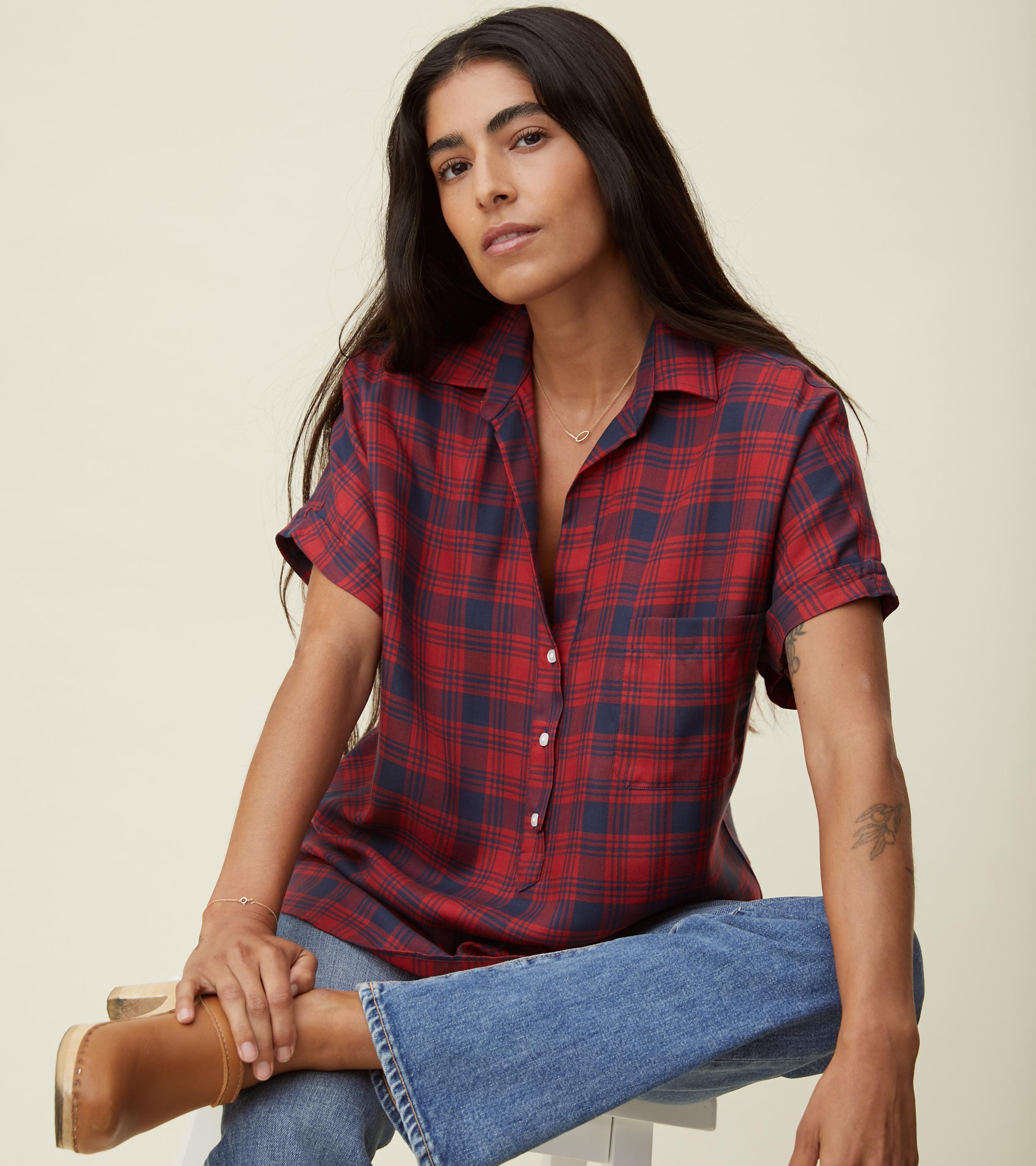 The Artist Short Sleeve Shirt Red and Navy Plaid, Liquid Flannel