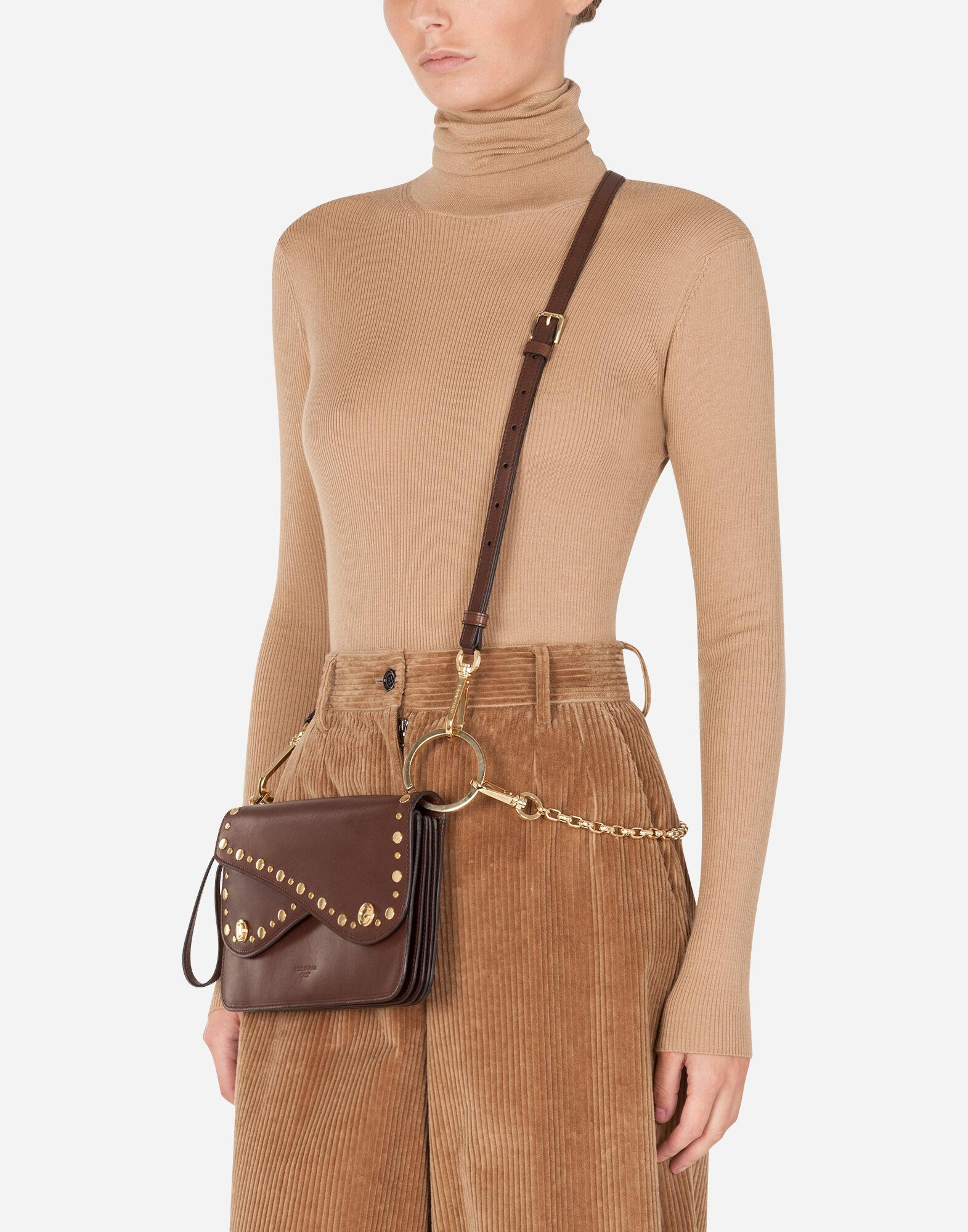 Biker bag in cowhide with embroidered studs 7