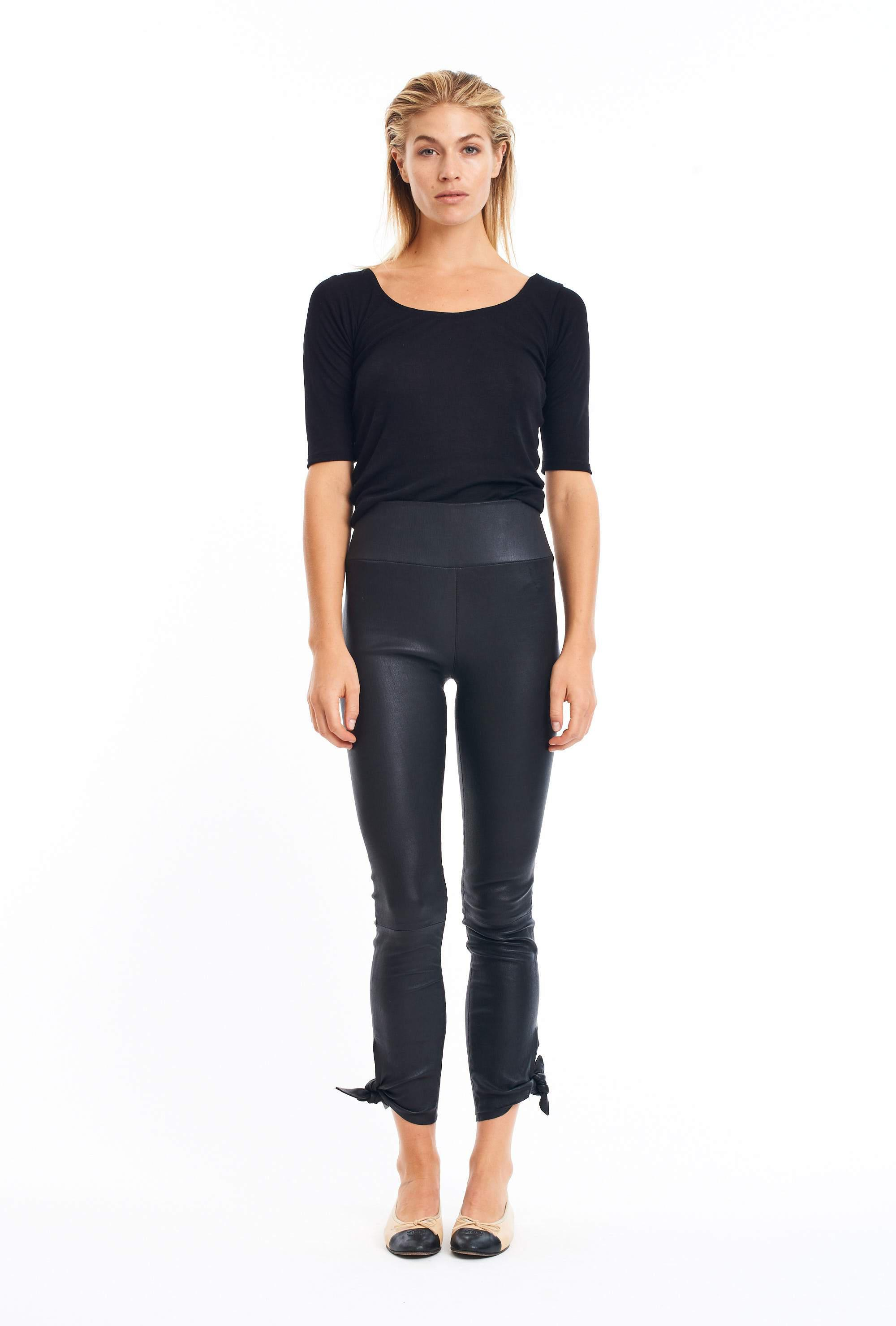 Black Ankle Leather Legging w Bow Tie