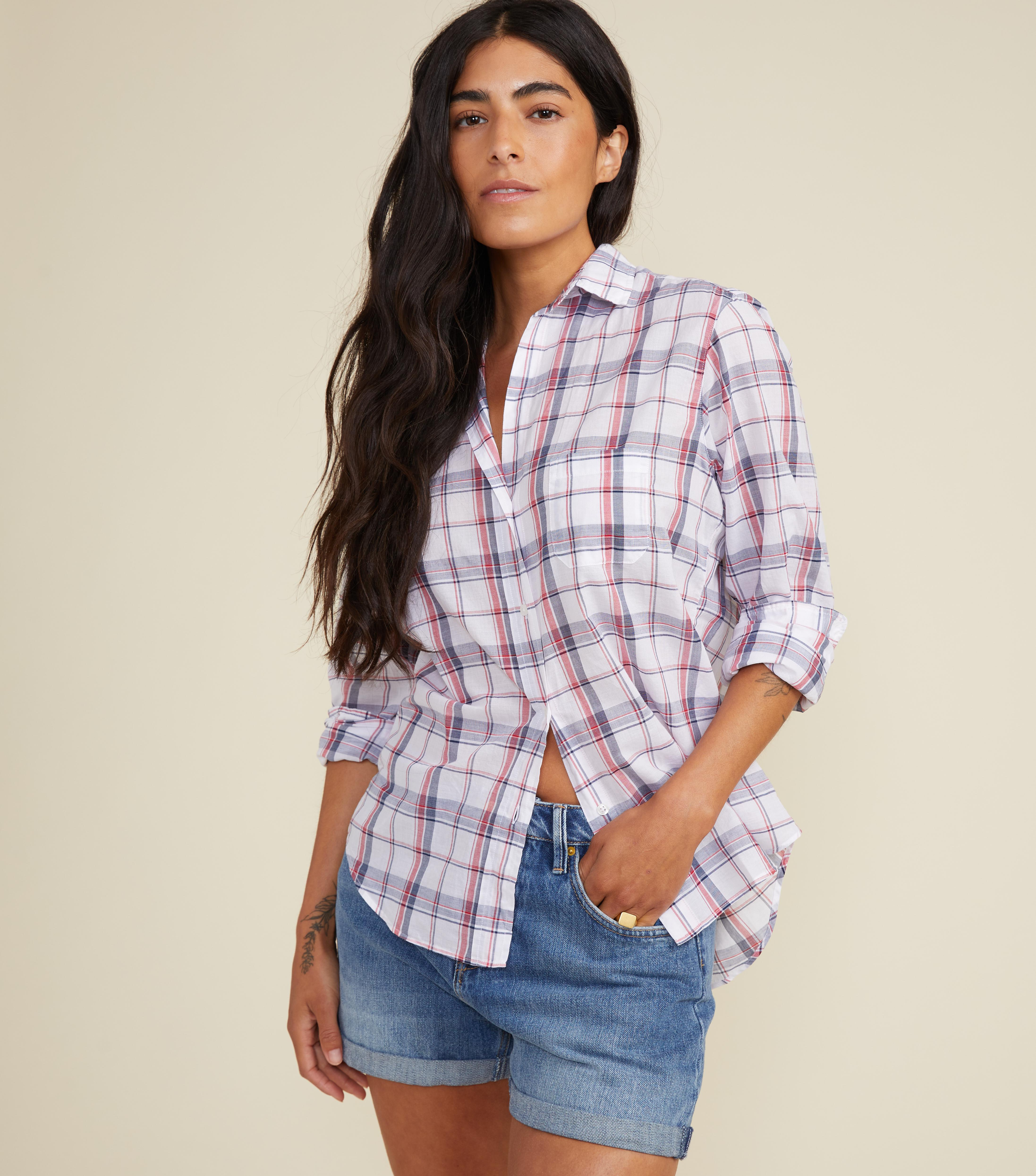 The Hero White with Navy and Red Plaid, Tissue Cotton Final Sale