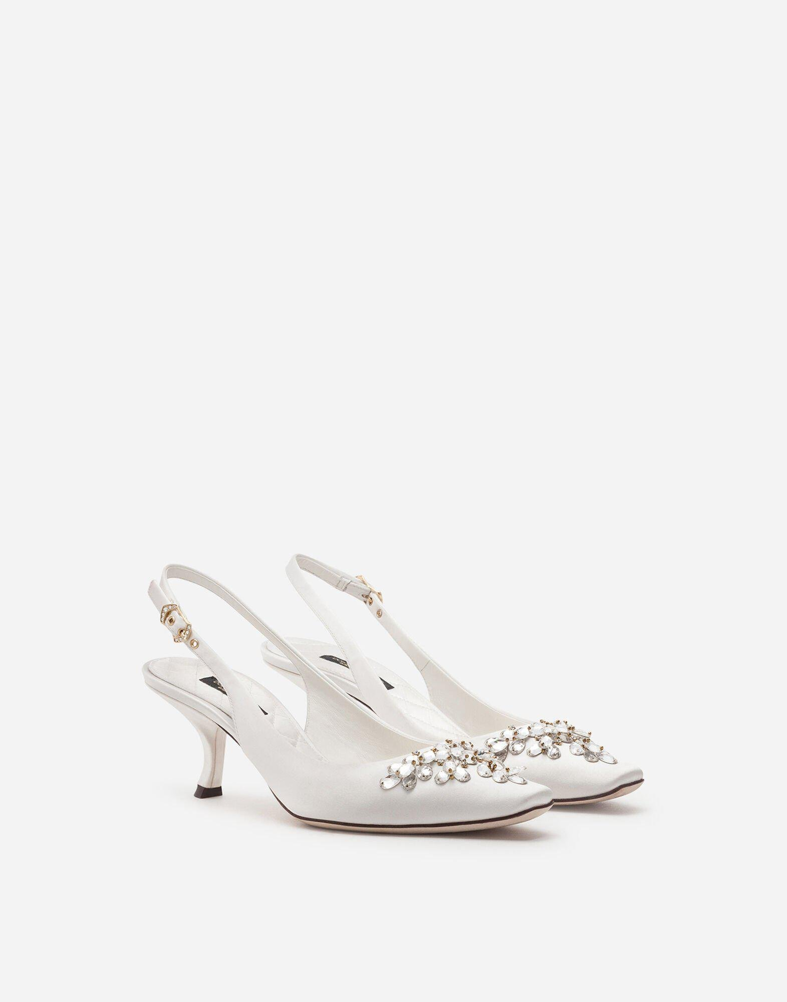 Satin sling back with bejeweled embroidery 1