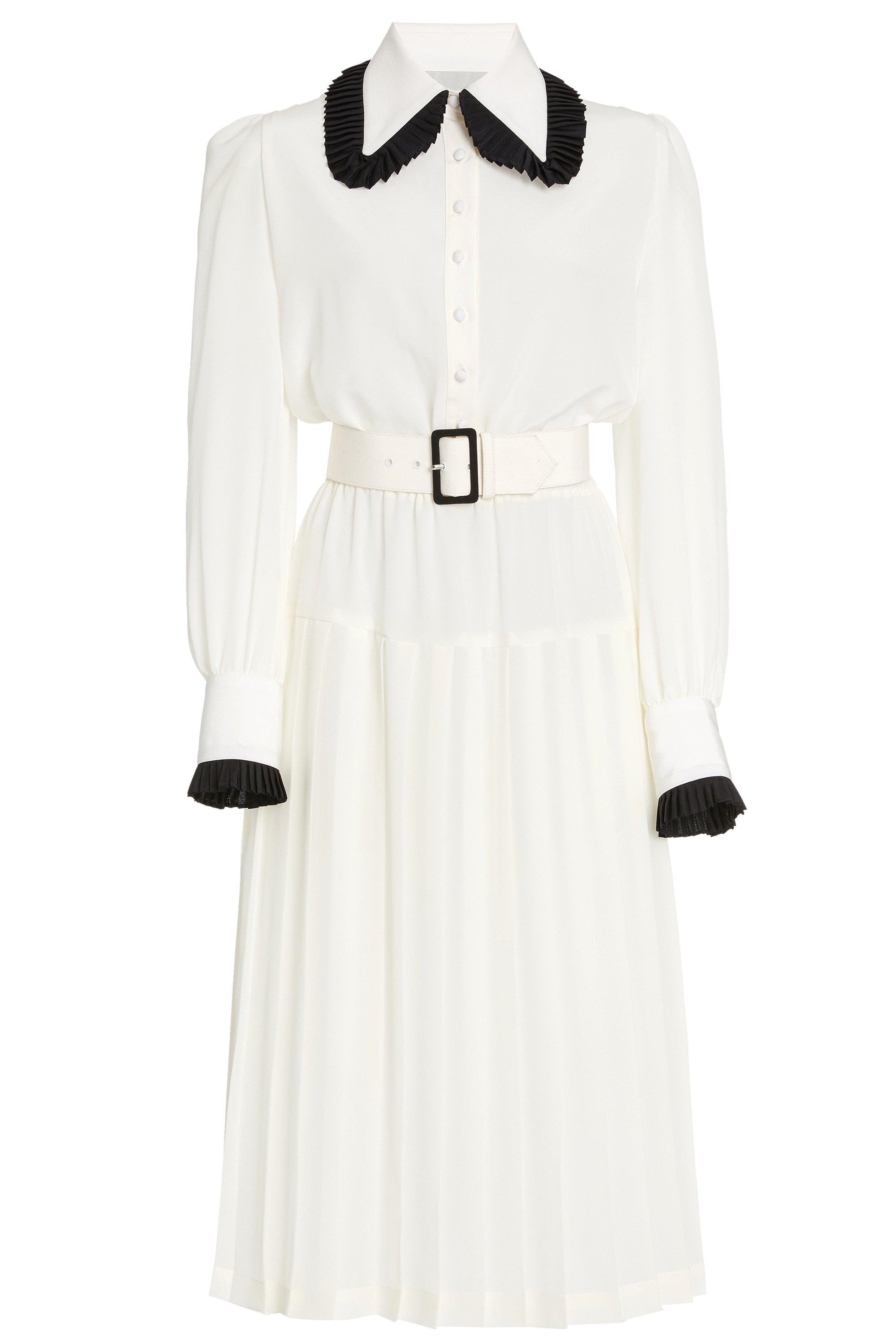 OFF WHITE AND BLACK BELTED SILK PLEATED COLLAR DRESS 3