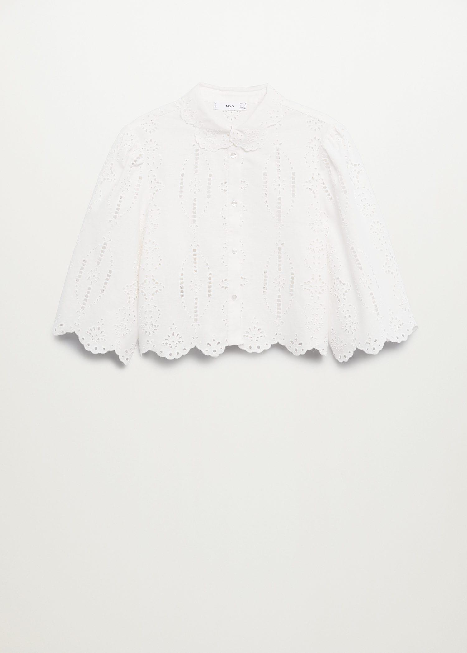 Swiss embroidery linen blouse 7