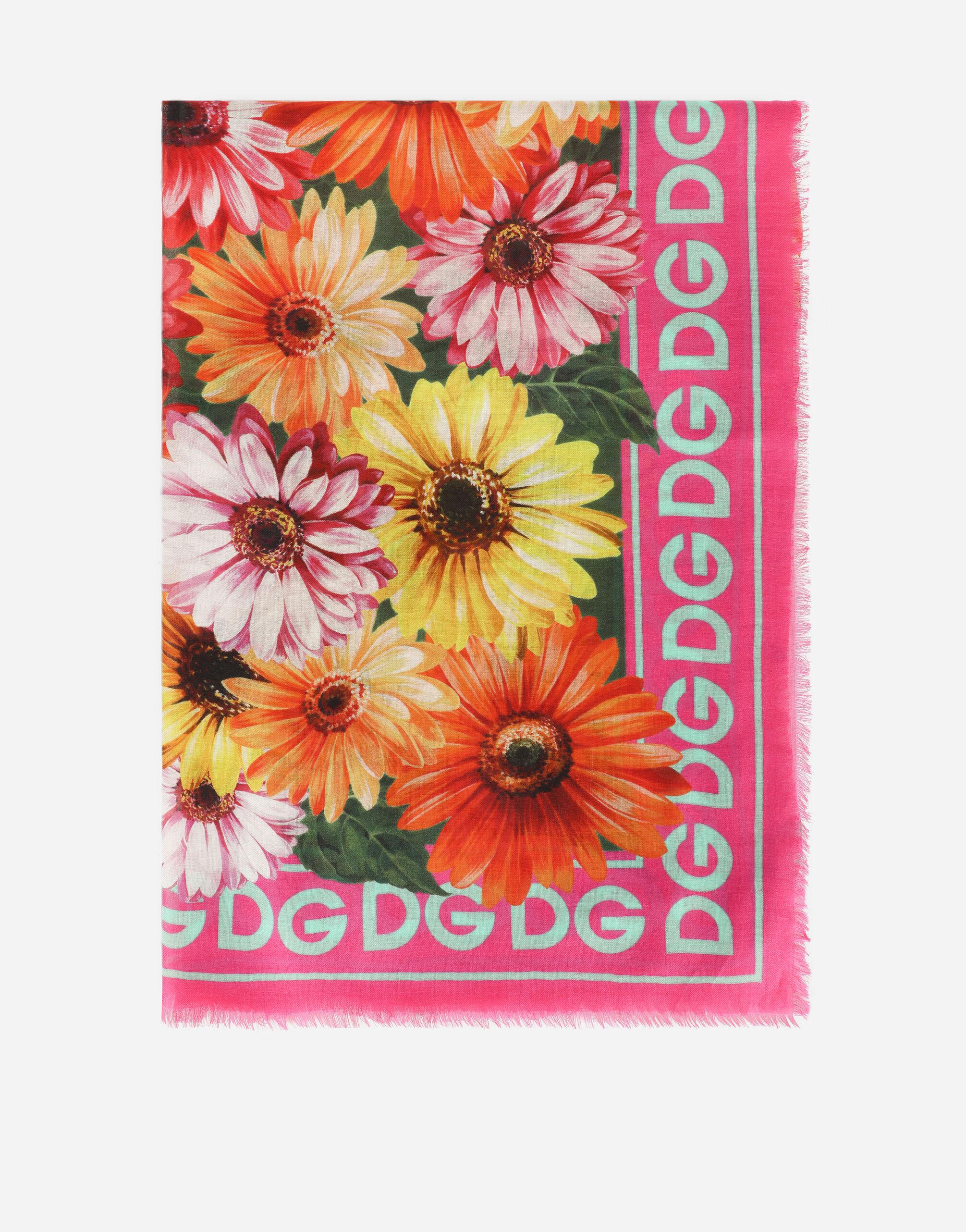 Modal and cashmere scarf with gerbera-daisy print (140 x 140)