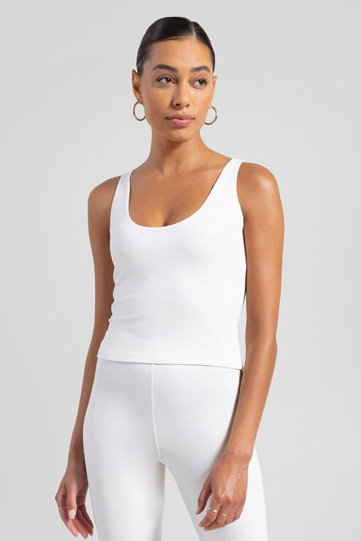 Rio Fitted Scoop Neck Tank - Natural