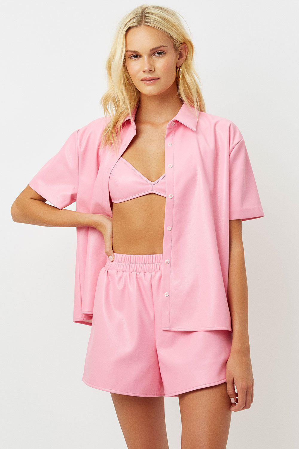 Rusty Vegan Leather Button Up Shirt - Pink Punch