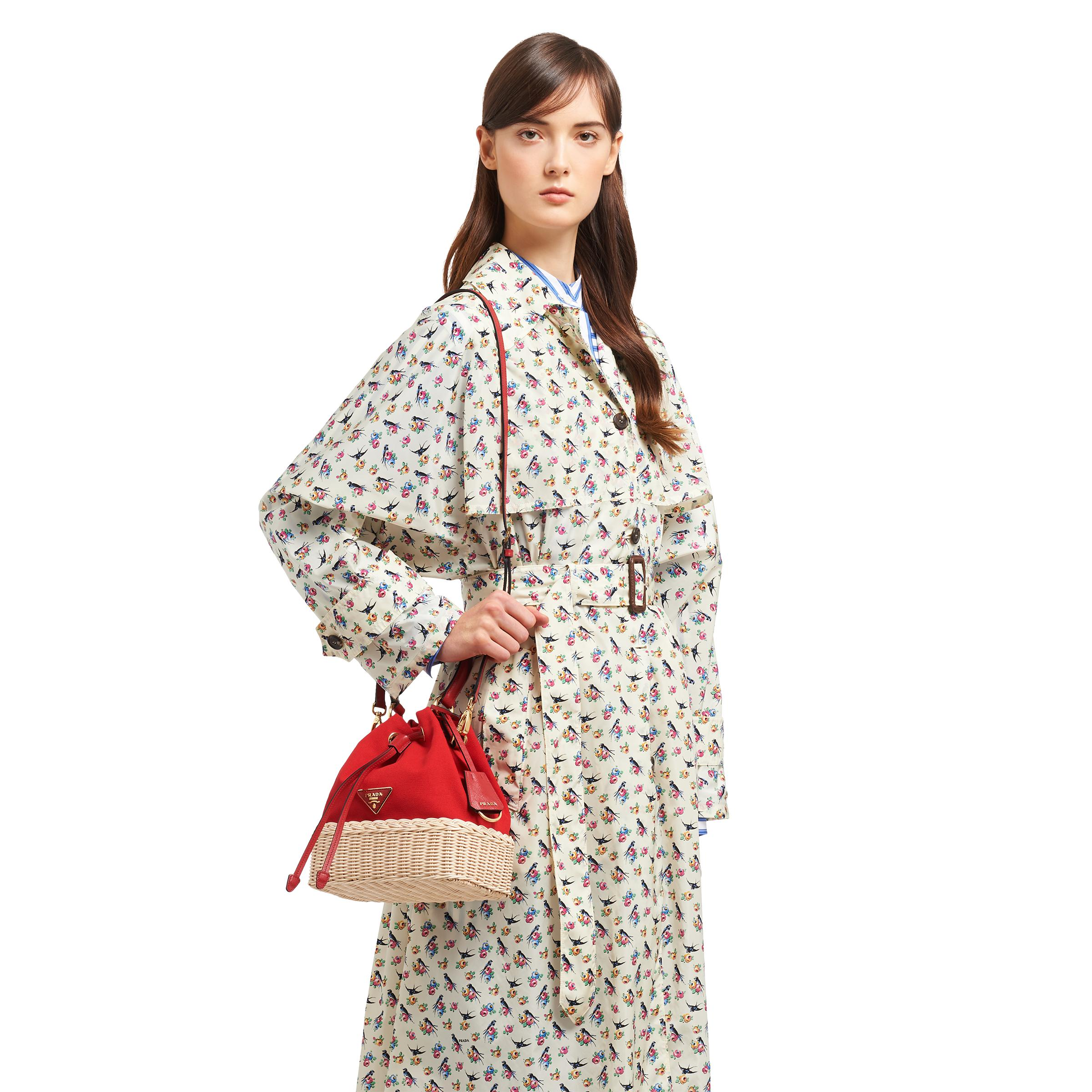 Wicker And Canvas Bucket Bag Women Tan/red 1