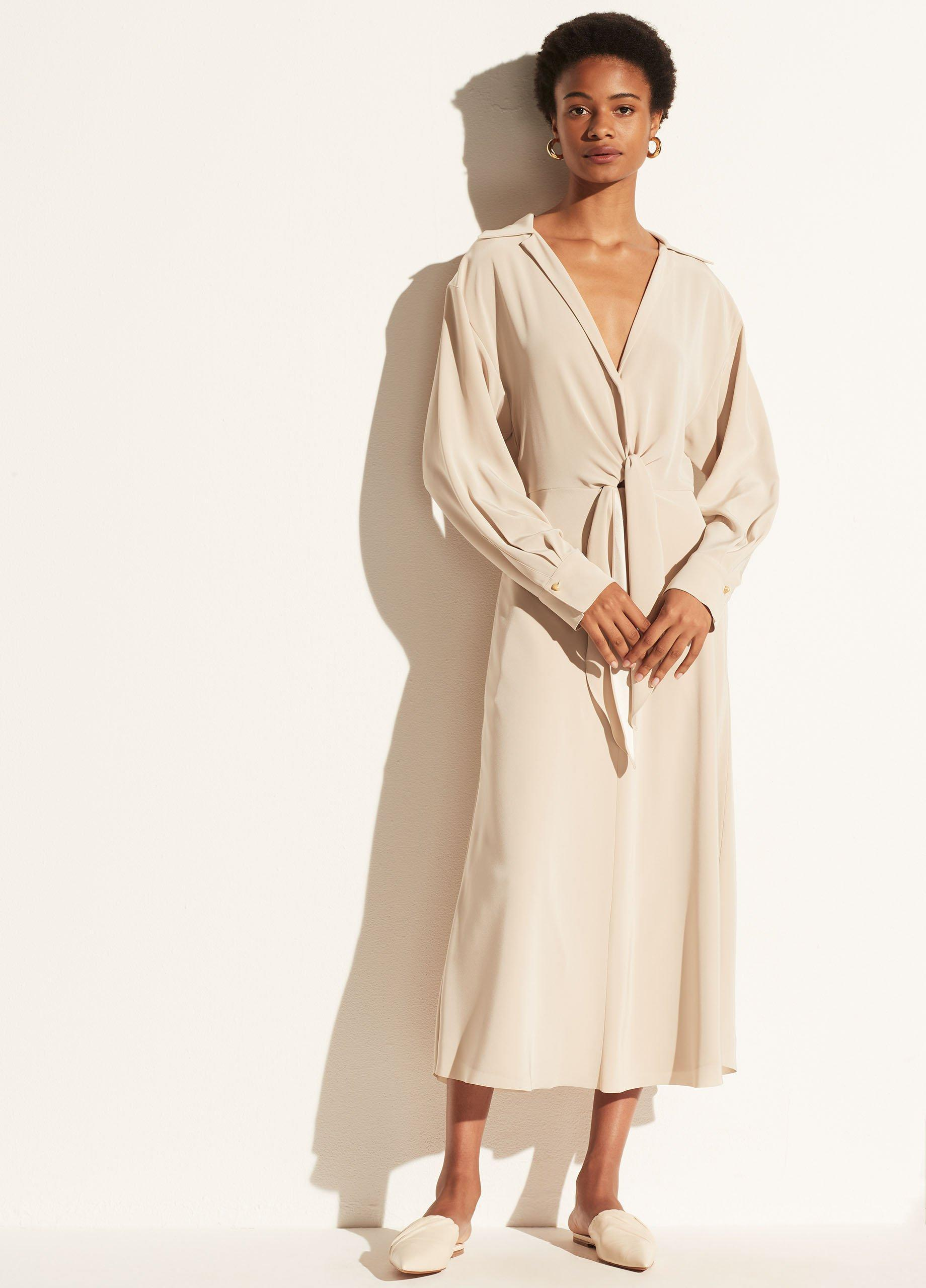 Long Sleeve Shaped Collar Tie Front Dress