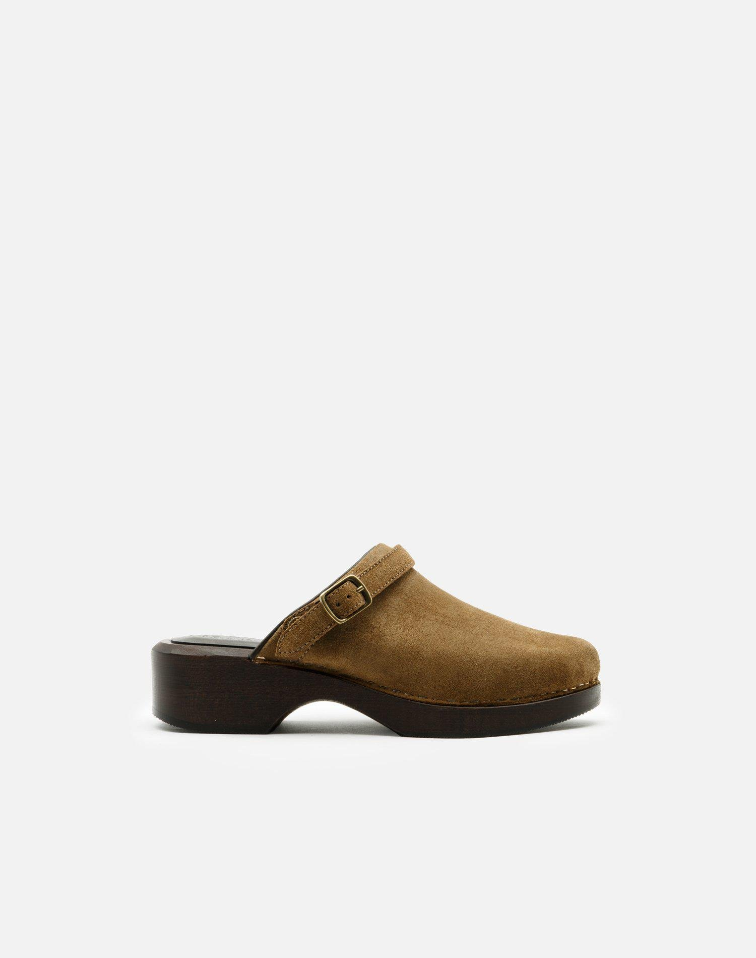 70s Classic Clog - Tan Olive Suede
